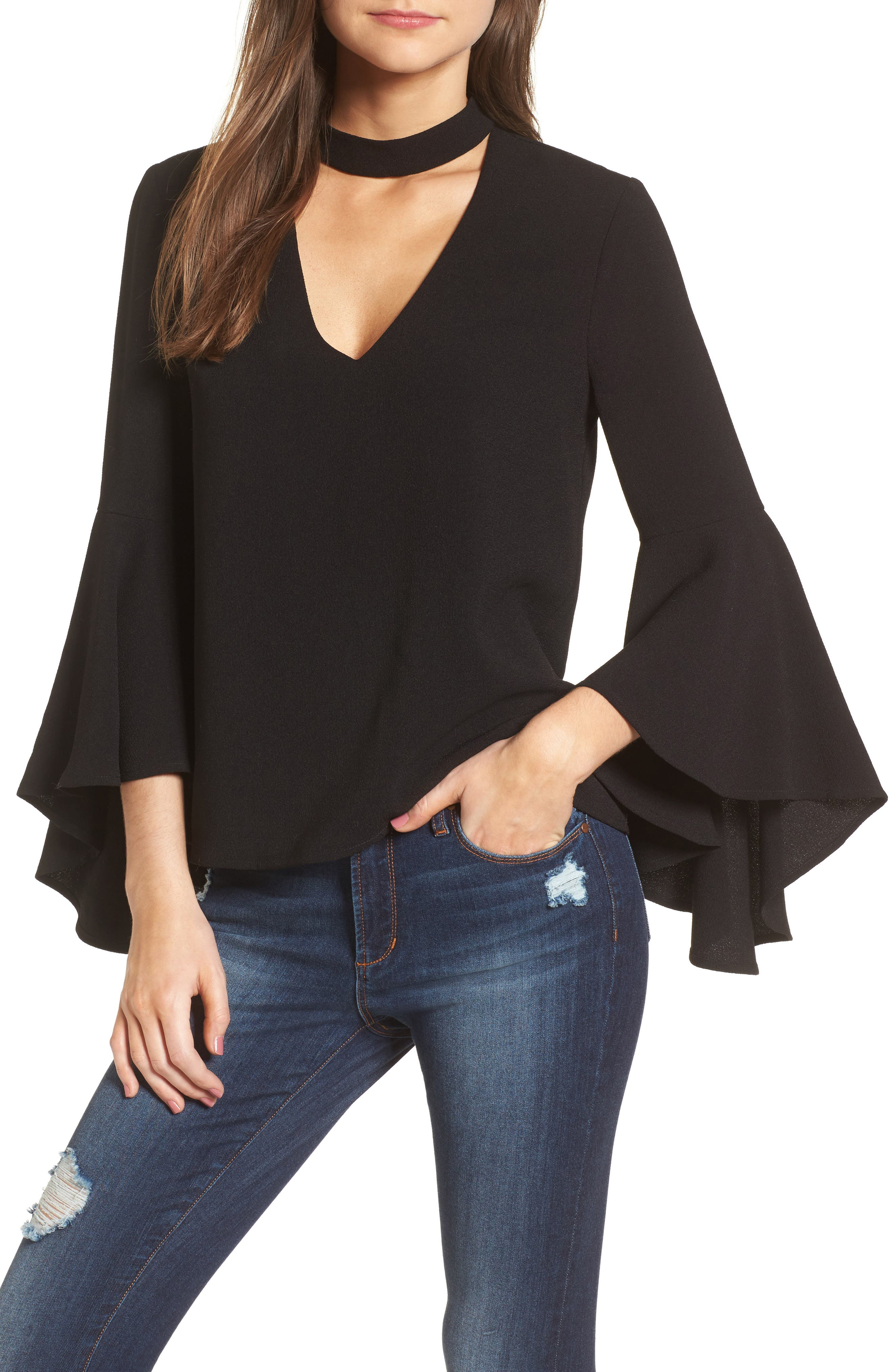 Main Image - WAYF Ryan Choker Bell Sleeve Top