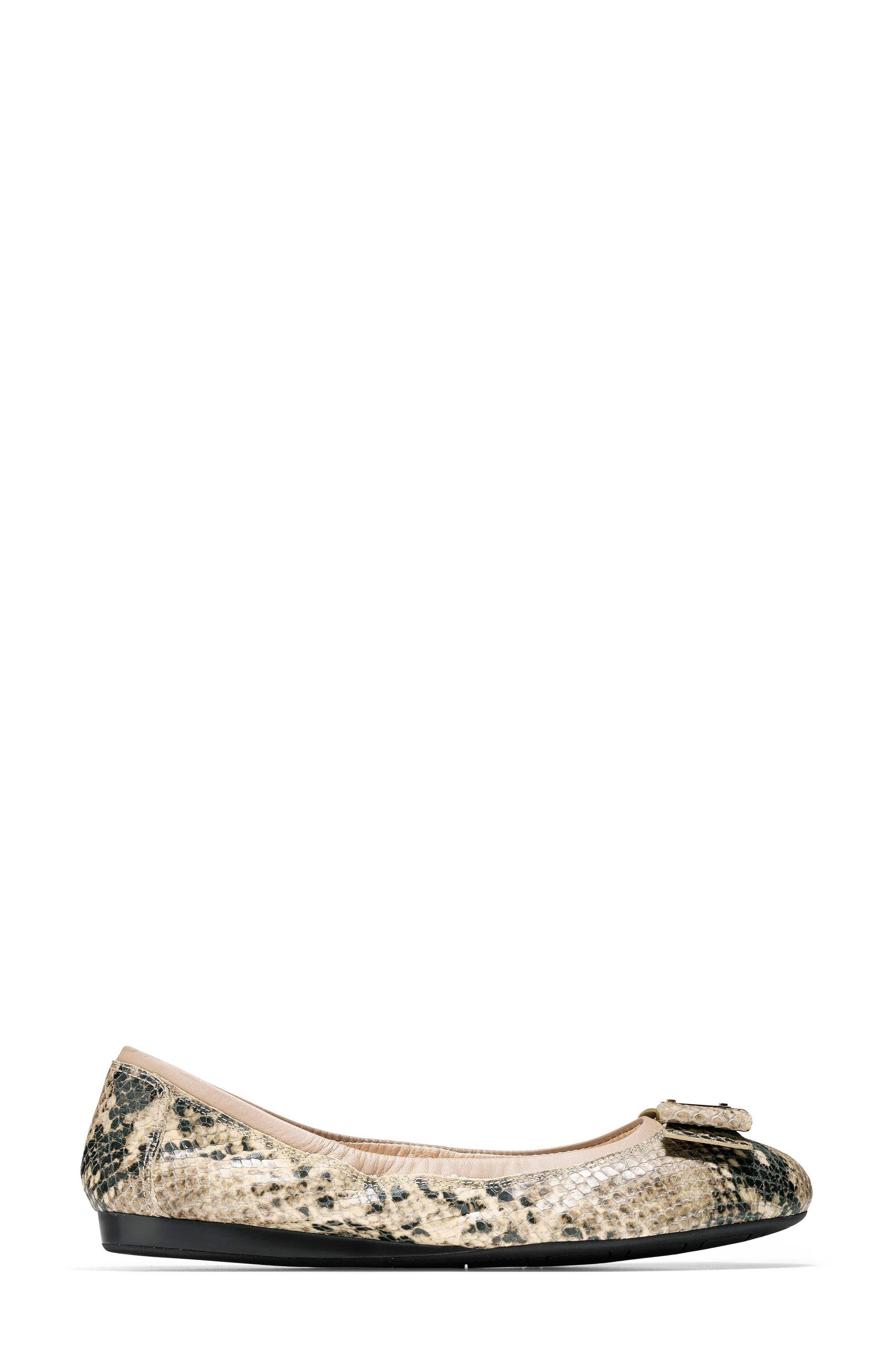'Tali' Bow Ballet Flat,                             Alternate thumbnail 3, color,                             Roccia Snake Print Leather