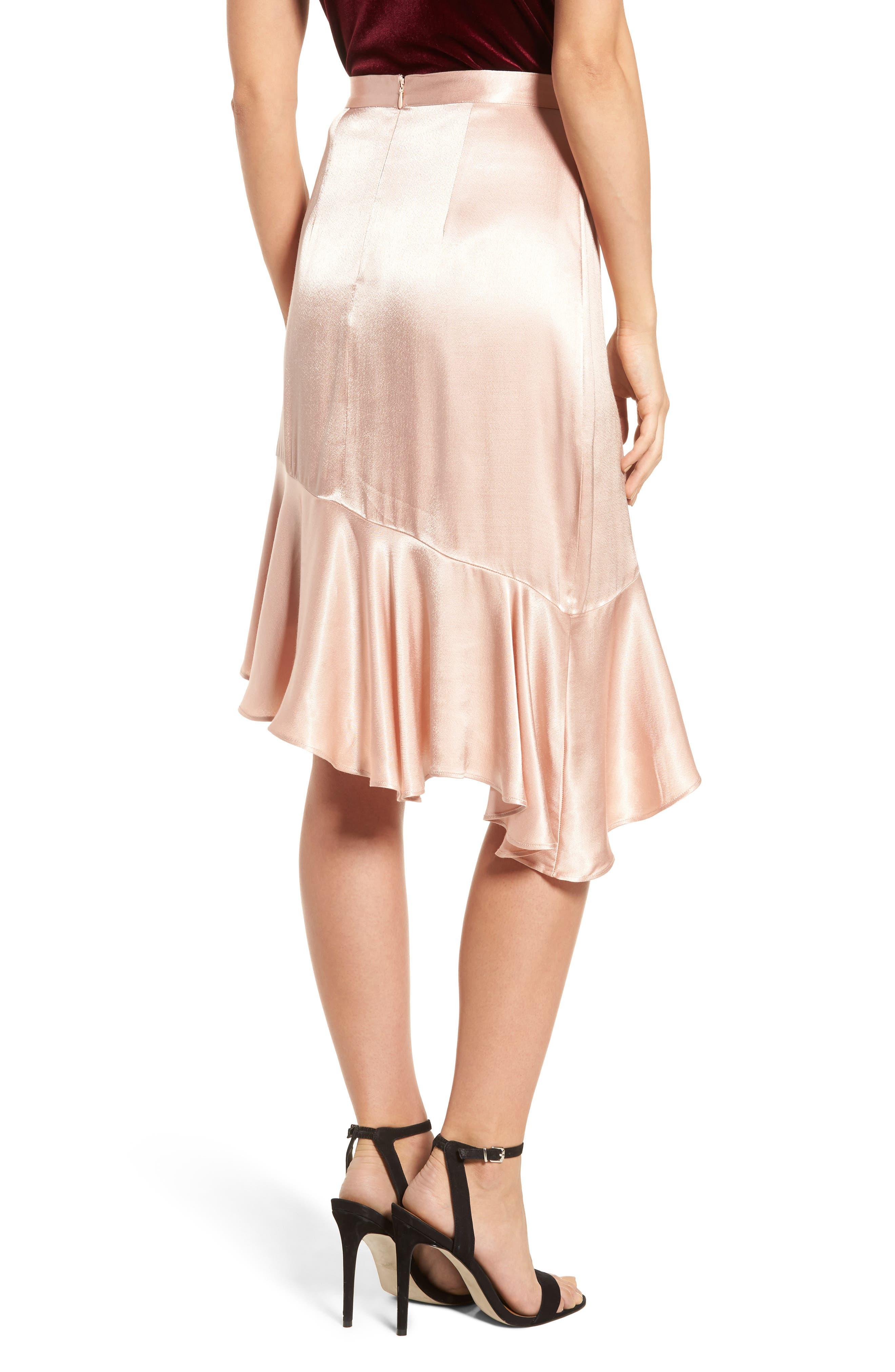 Sateen Ruffle Skirt,                             Alternate thumbnail 2, color,                             Beige Maple