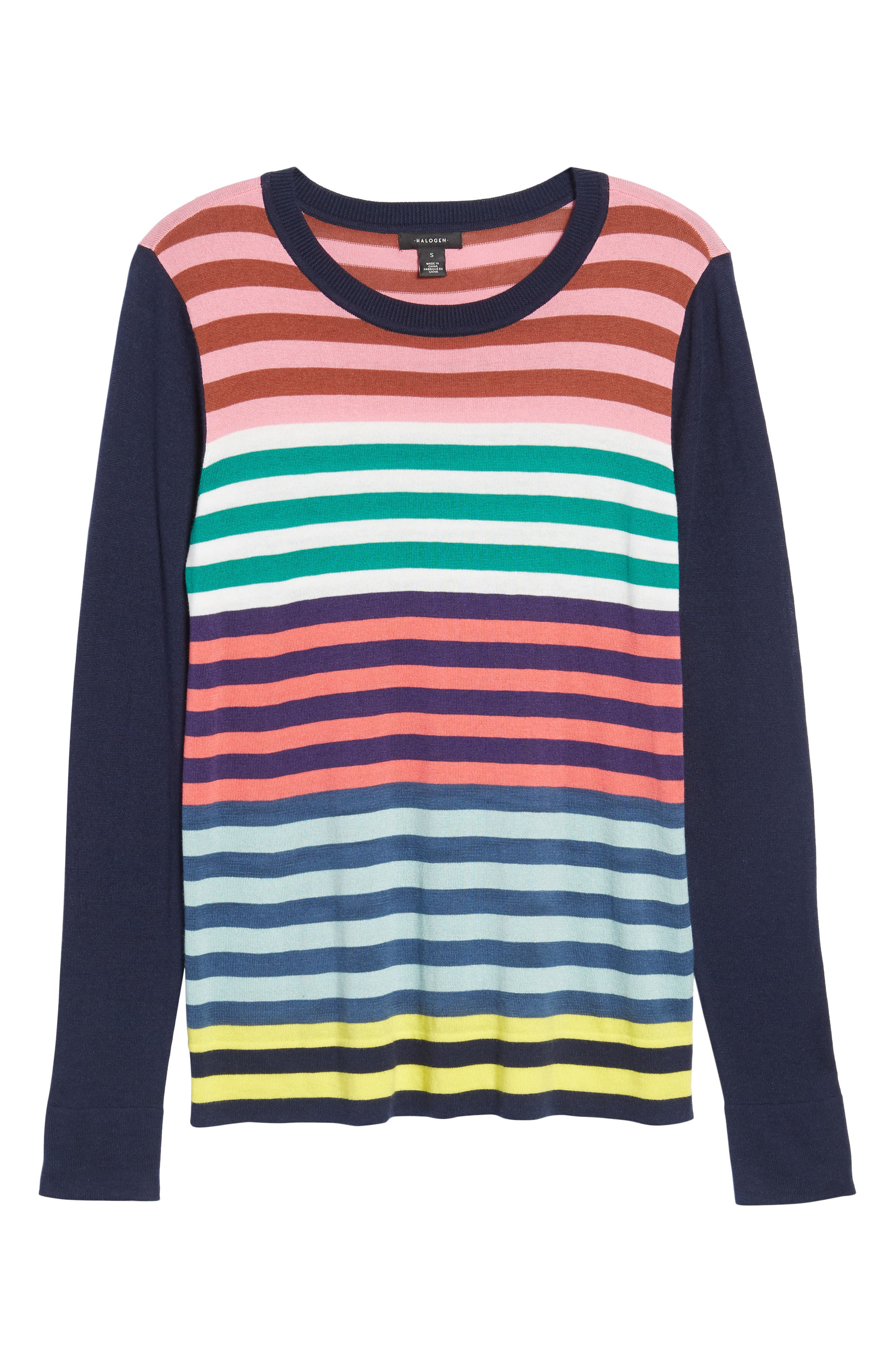 Colorblock Stripe Sweater,                             Alternate thumbnail 6, color,                             Coral Multi Stripe
