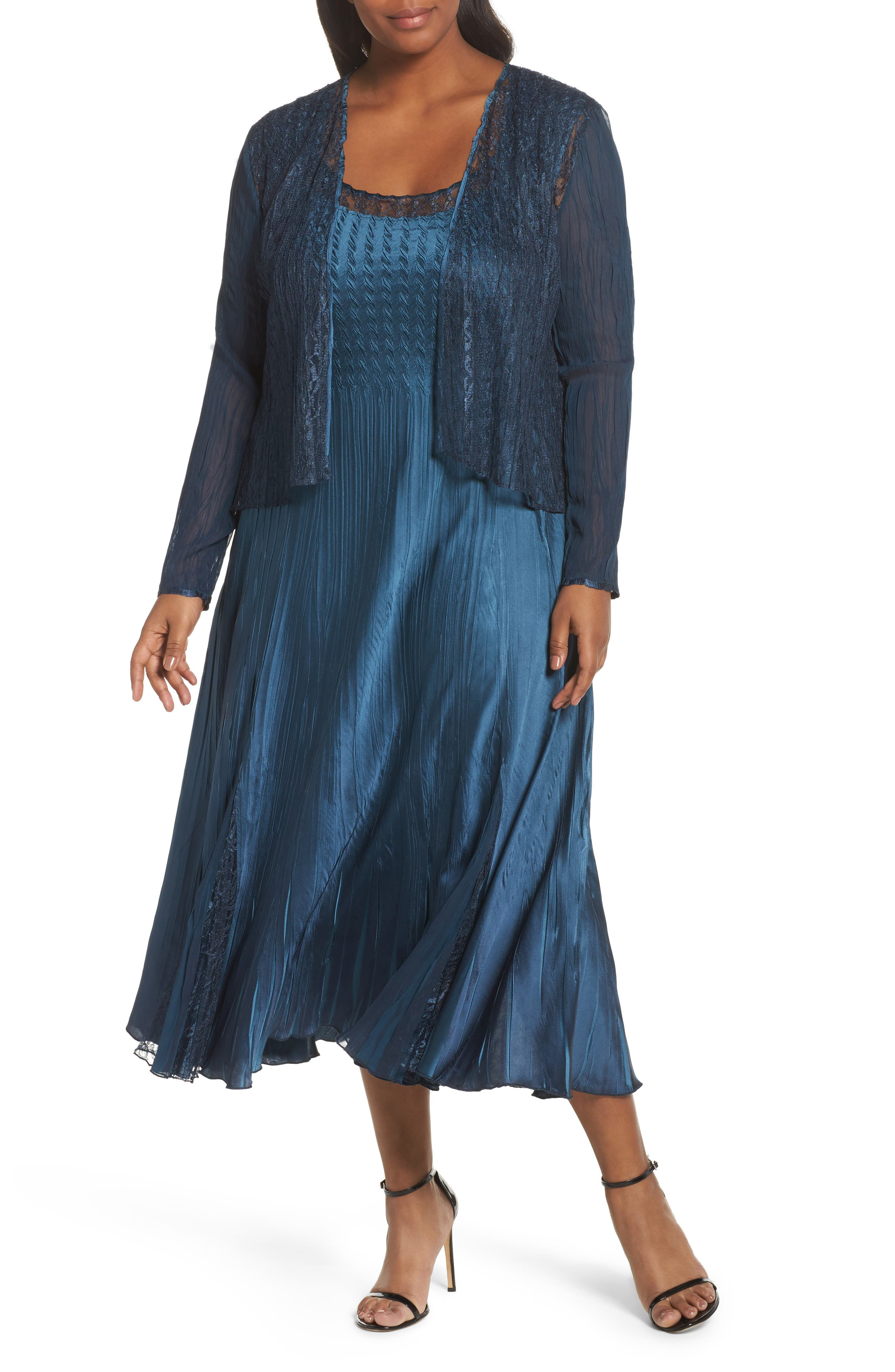 Lace Front Dress with Jacket,                             Main thumbnail 1, color,                             Moroccan Blue Ombre