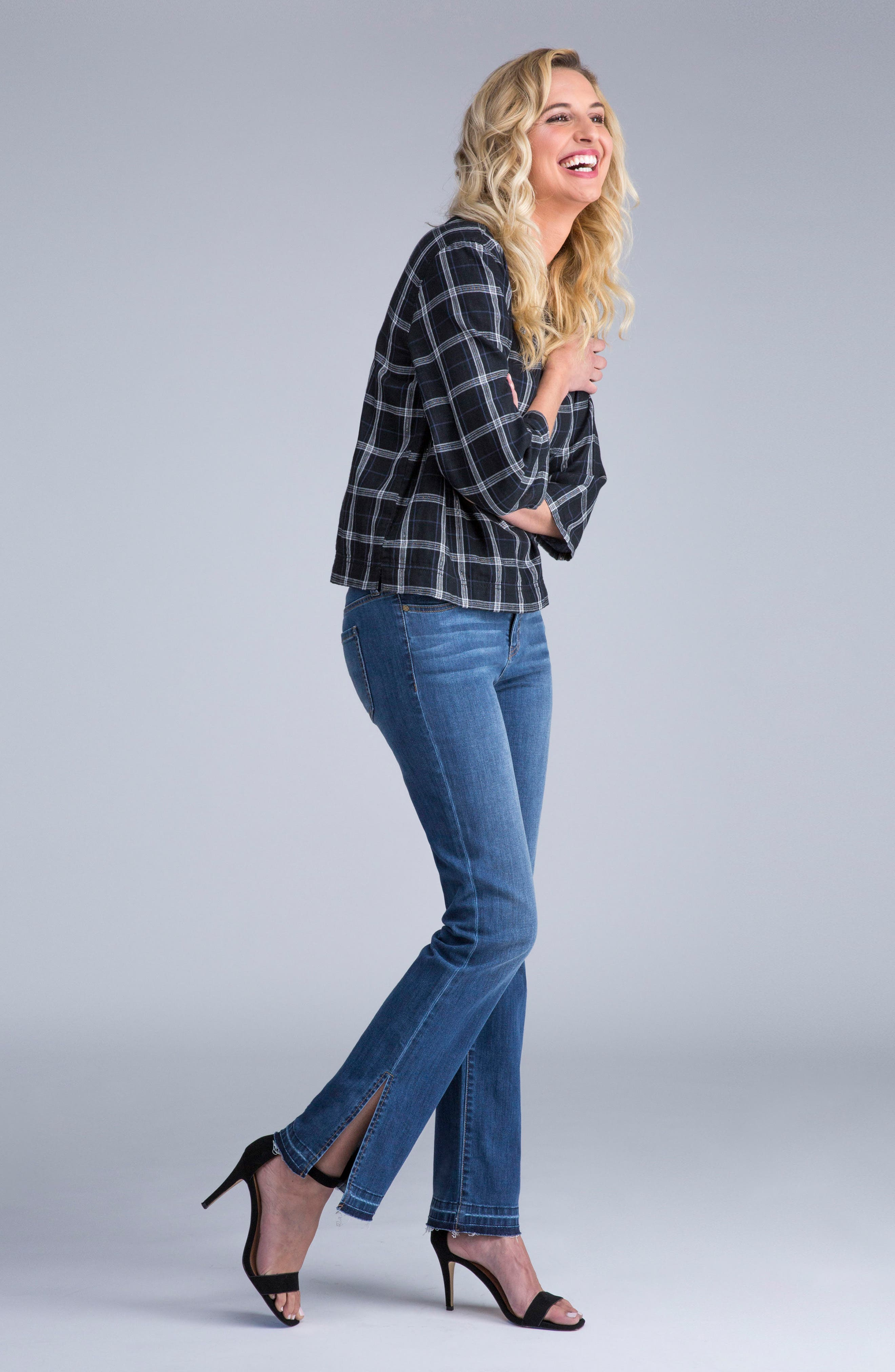 Alternate Image 6  - Liverpool Jeans Company Tabitha Release Hem Straight Leg Jeans (Montauck Mid)