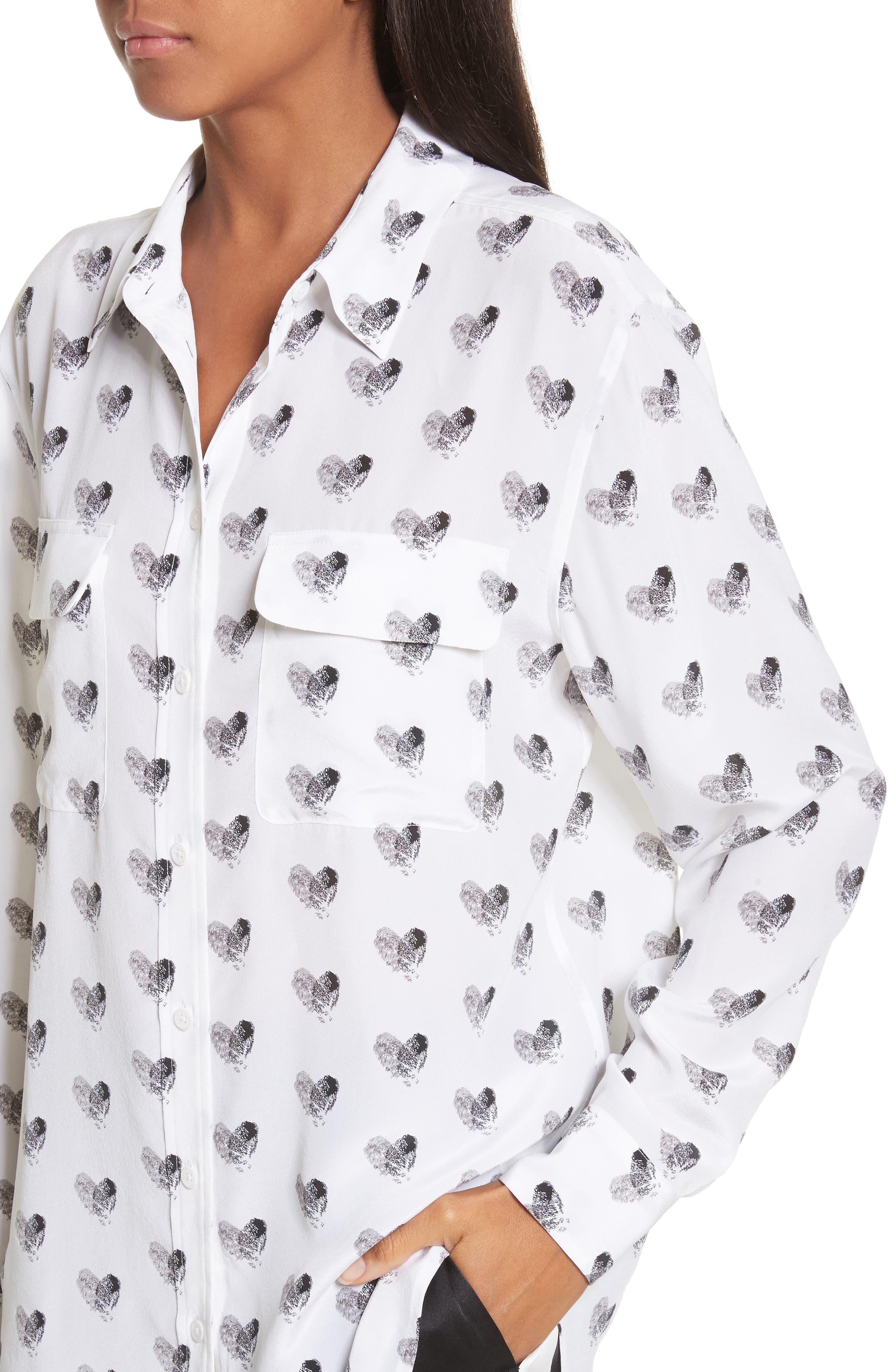 Alternate Image 4  - Equipment Signature Heart Print Silk Shirt