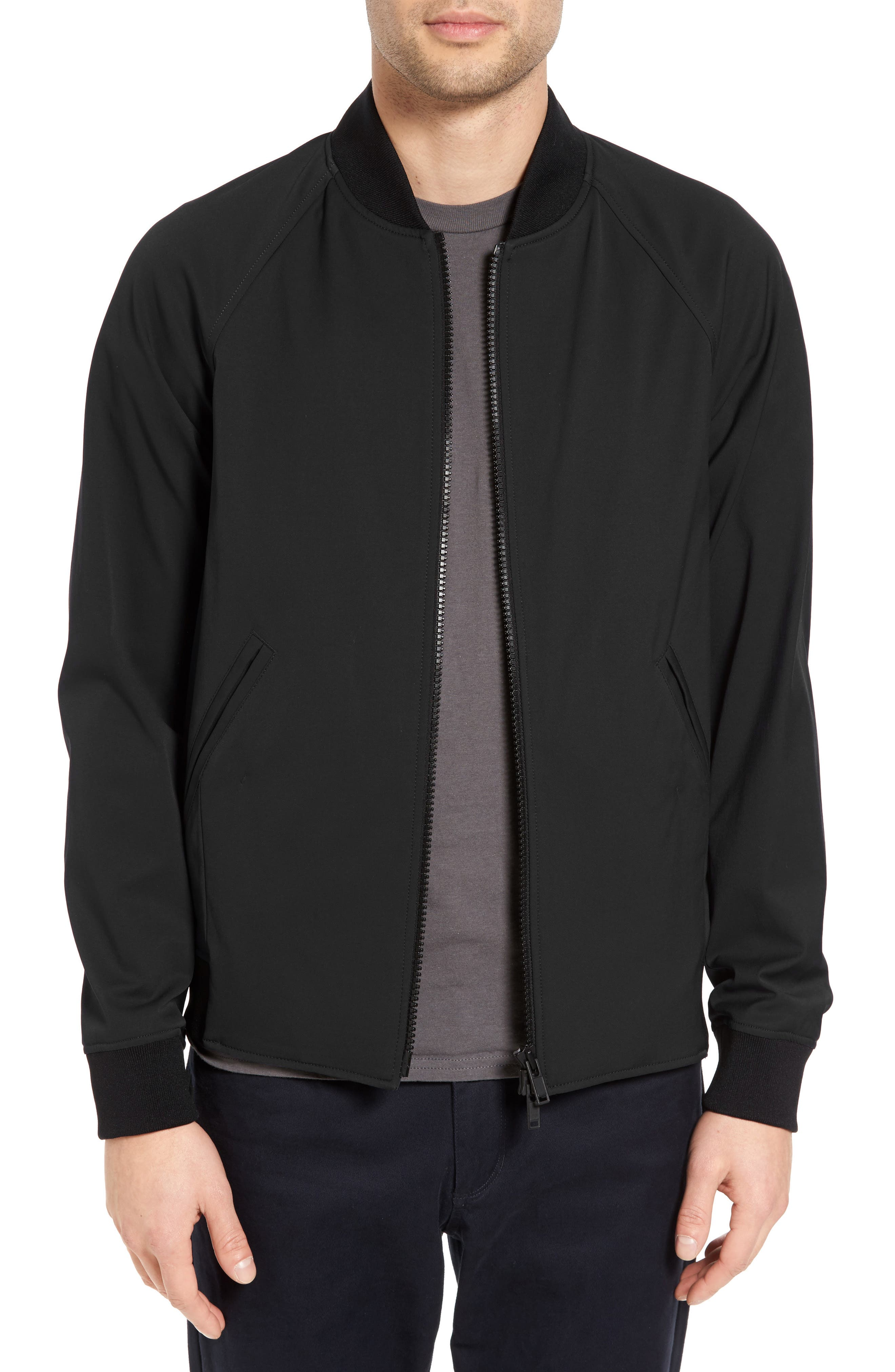 Black bomber jacket gold zip