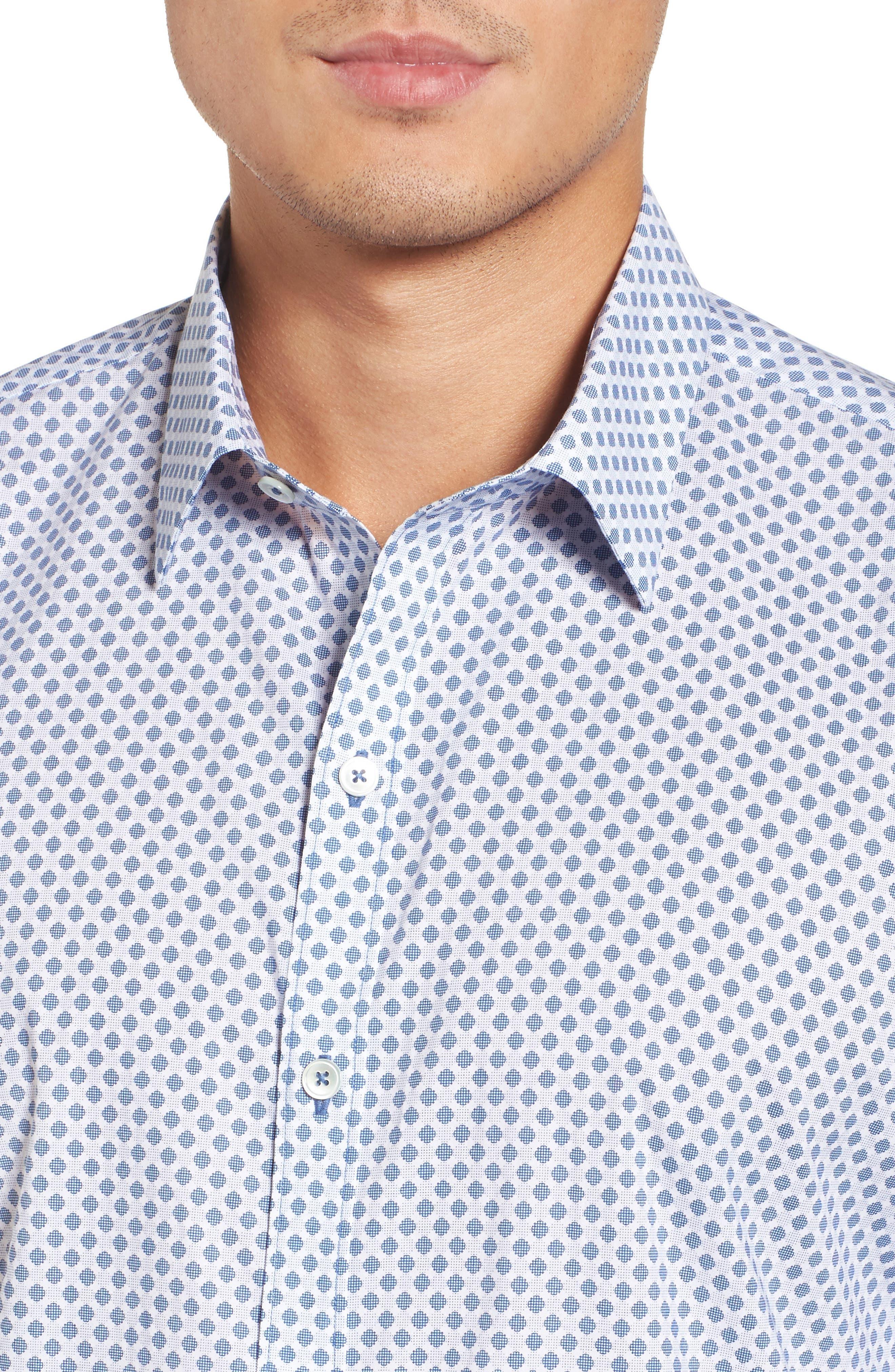 Obi Slim Fit Circle Print Sport Shirt,                             Alternate thumbnail 4, color,                             Navy