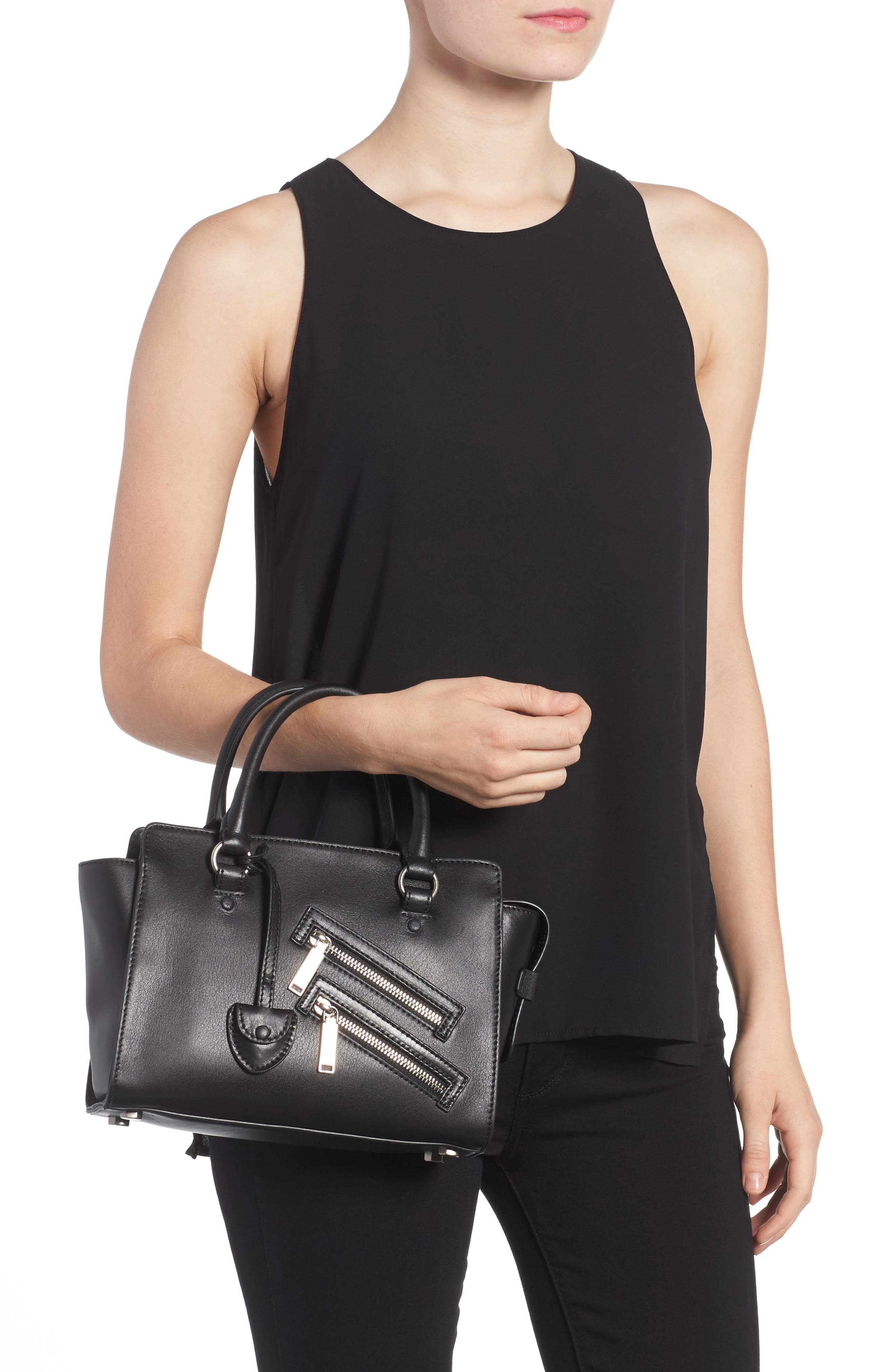 Small Jamie Leather Satchel,                             Alternate thumbnail 2, color,                             Black