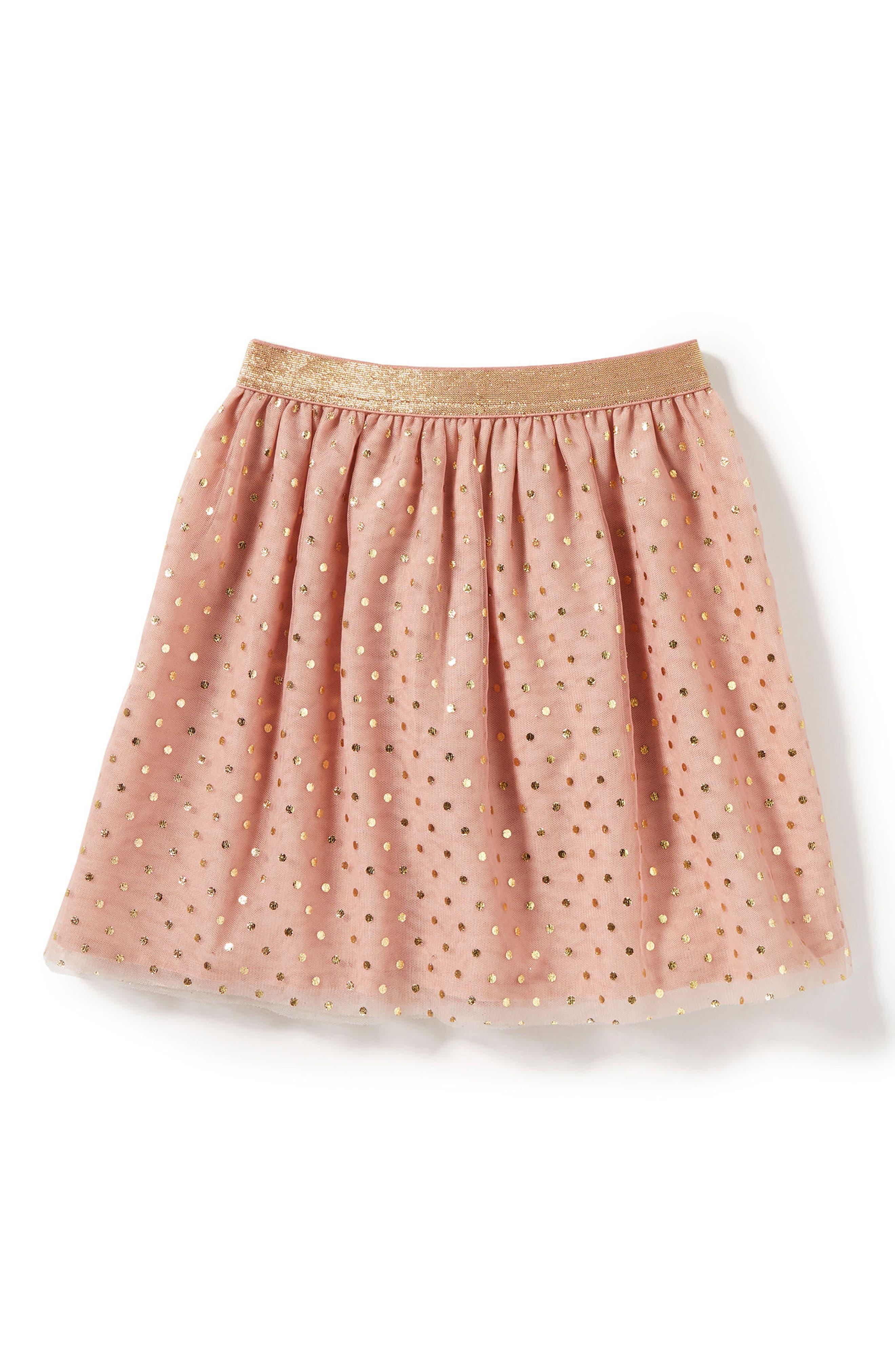 Belle Polka Dot Mesh Skirt,                         Main,                         color, Pink