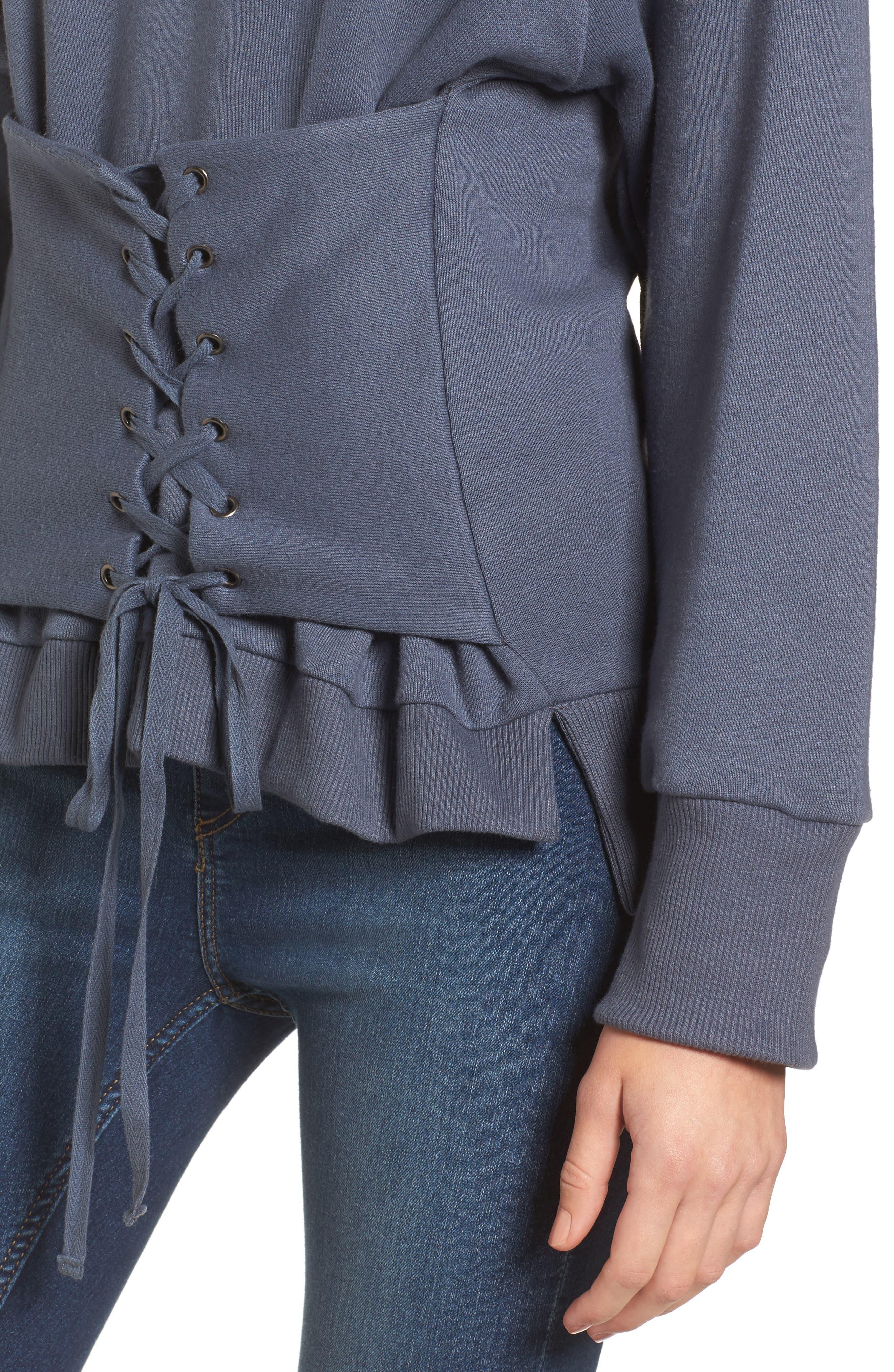 Corset Sweatshirt,                             Alternate thumbnail 4, color,                             Steel