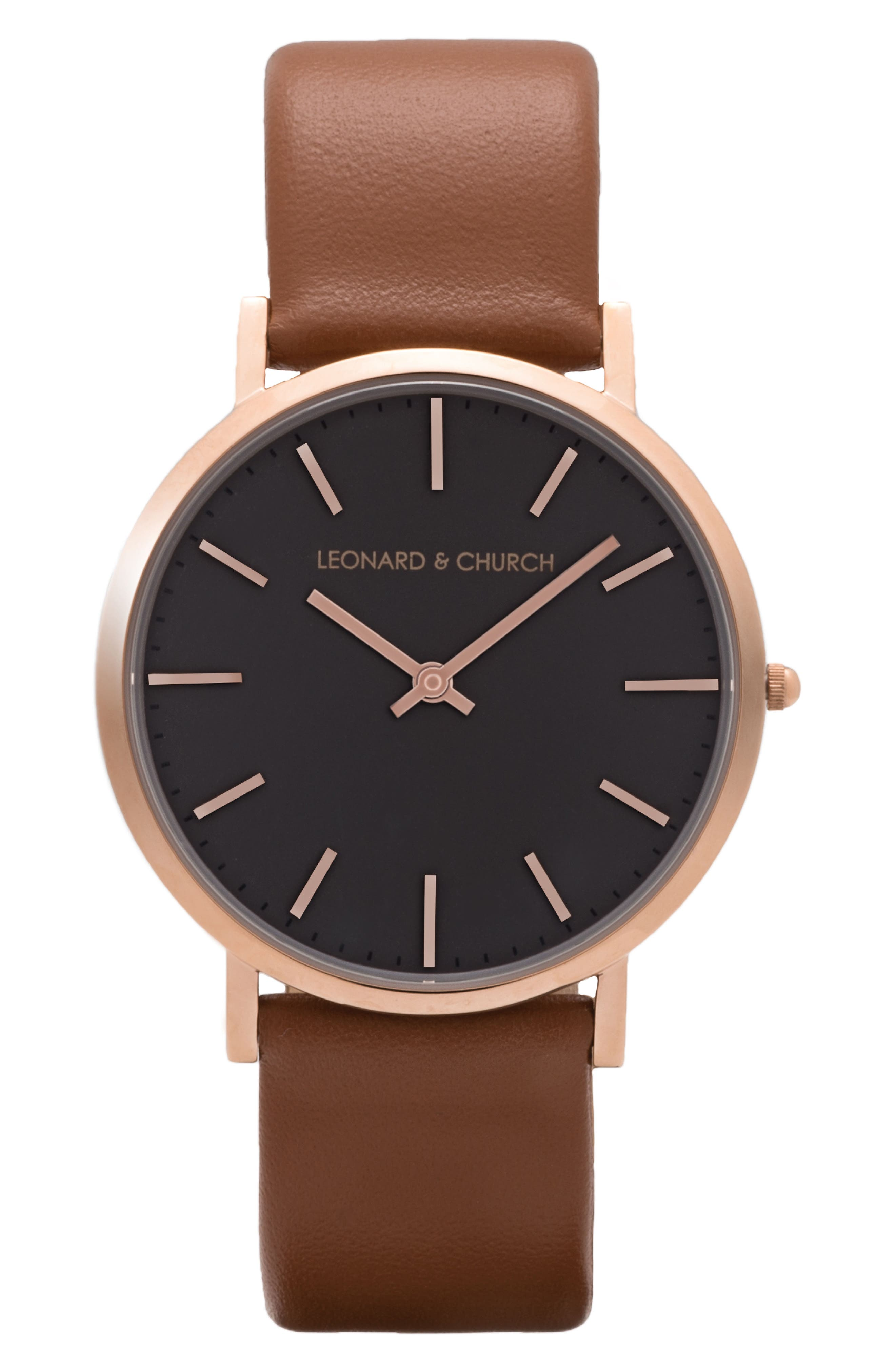 Leonard & Church Varick Leather Strap Watch, 40mm,                         Main,                         color, Brown/ Rose Gold