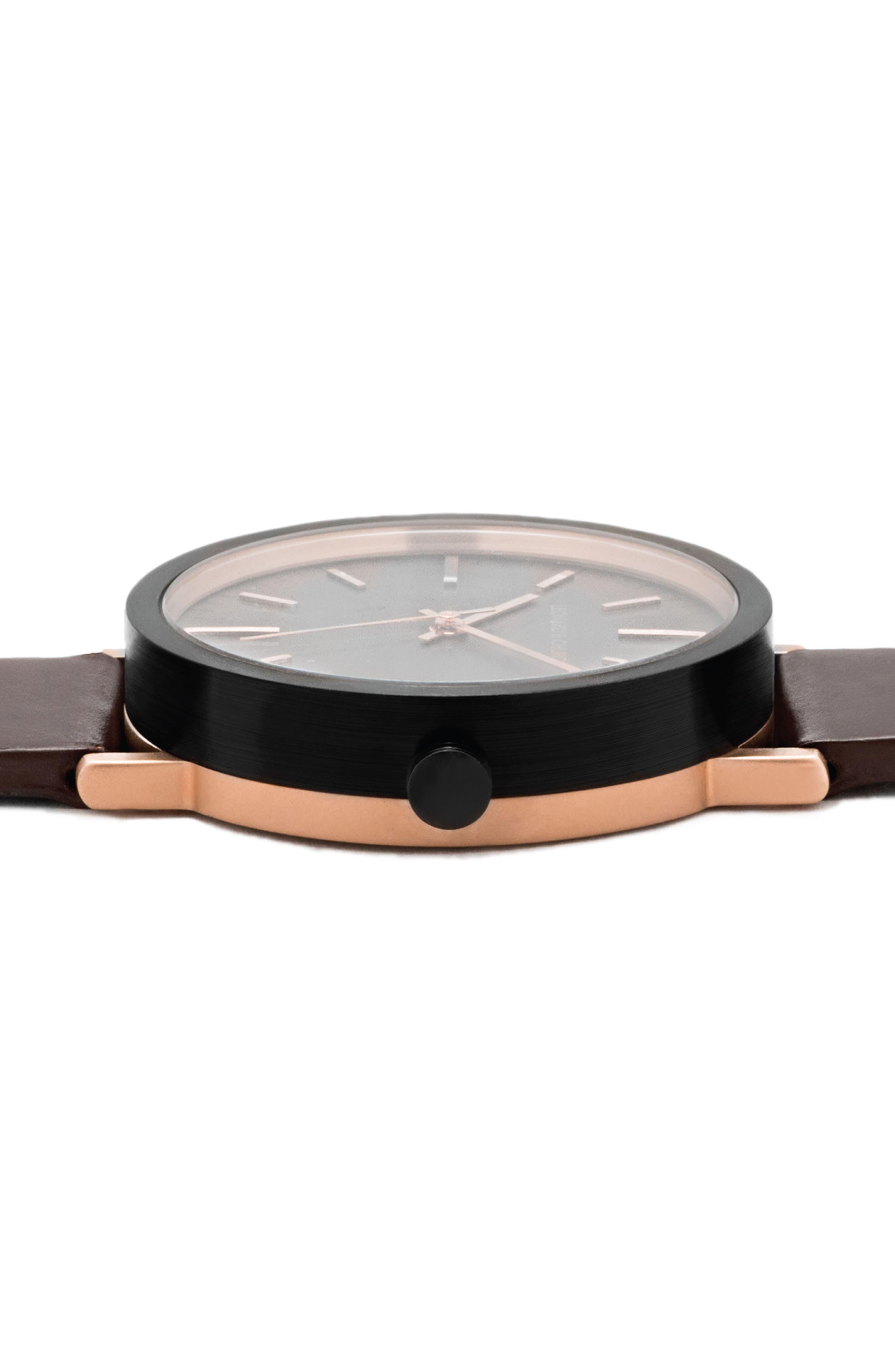 Leonard & Church Thompson Leather Strap Watch, 40mm,                             Alternate thumbnail 4, color,                             Coffee/ Black/ Rose Gold