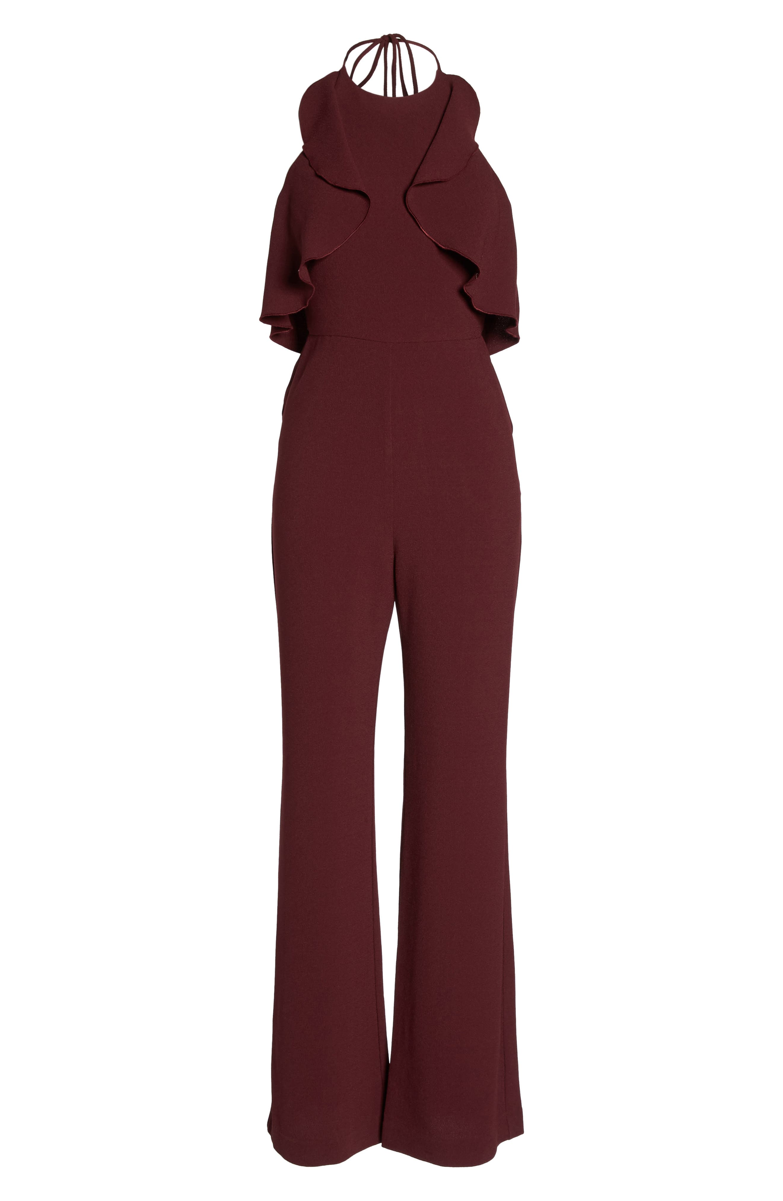 Ruffle Halter Jumpsuit,                             Alternate thumbnail 6, color,                             Raisin