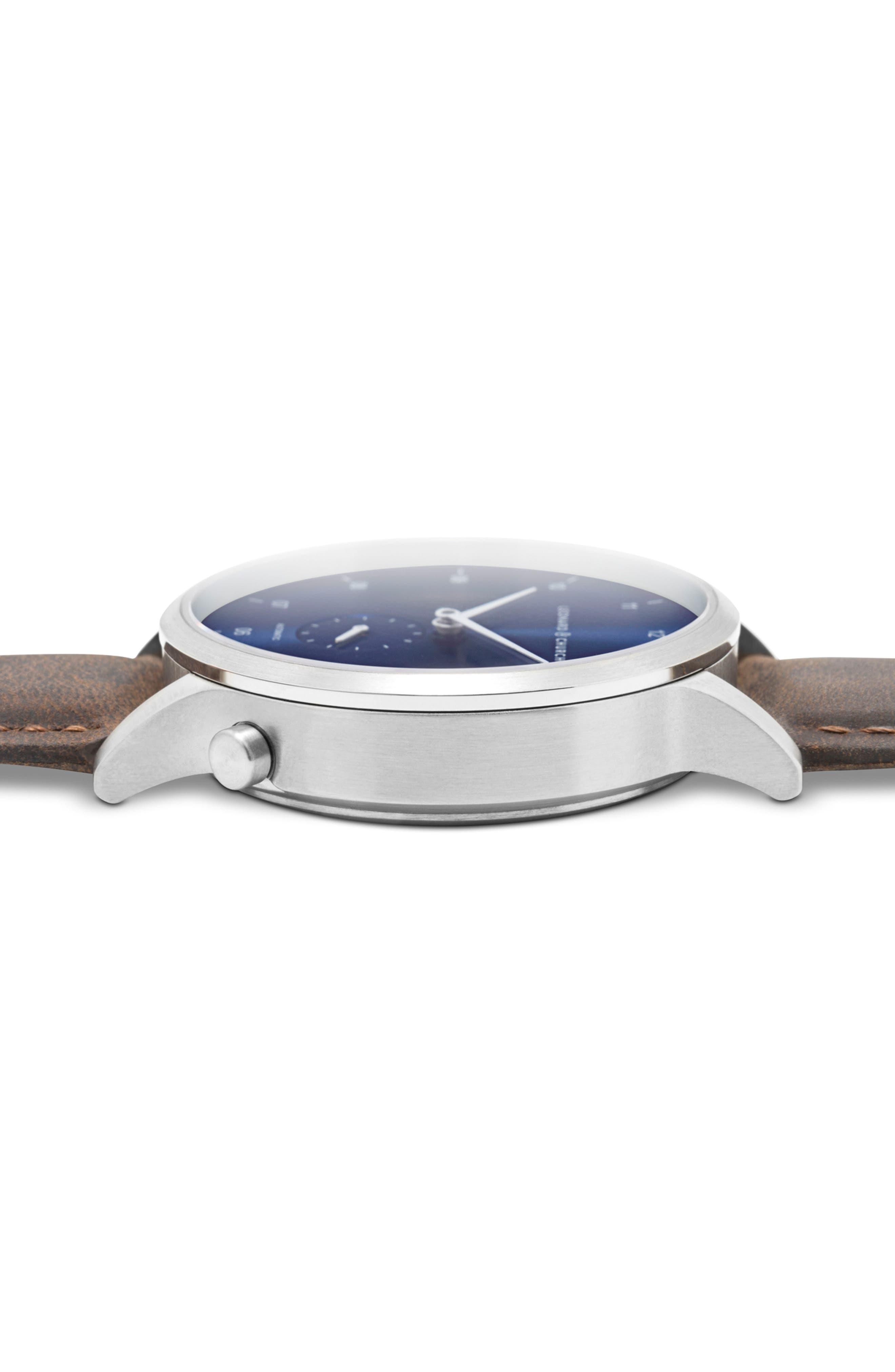 Leonard & Church Sullivan Automatic Suede Strap Watch, 39mm,                             Alternate thumbnail 2, color,                             Dark Brown/ Blue/ Silver