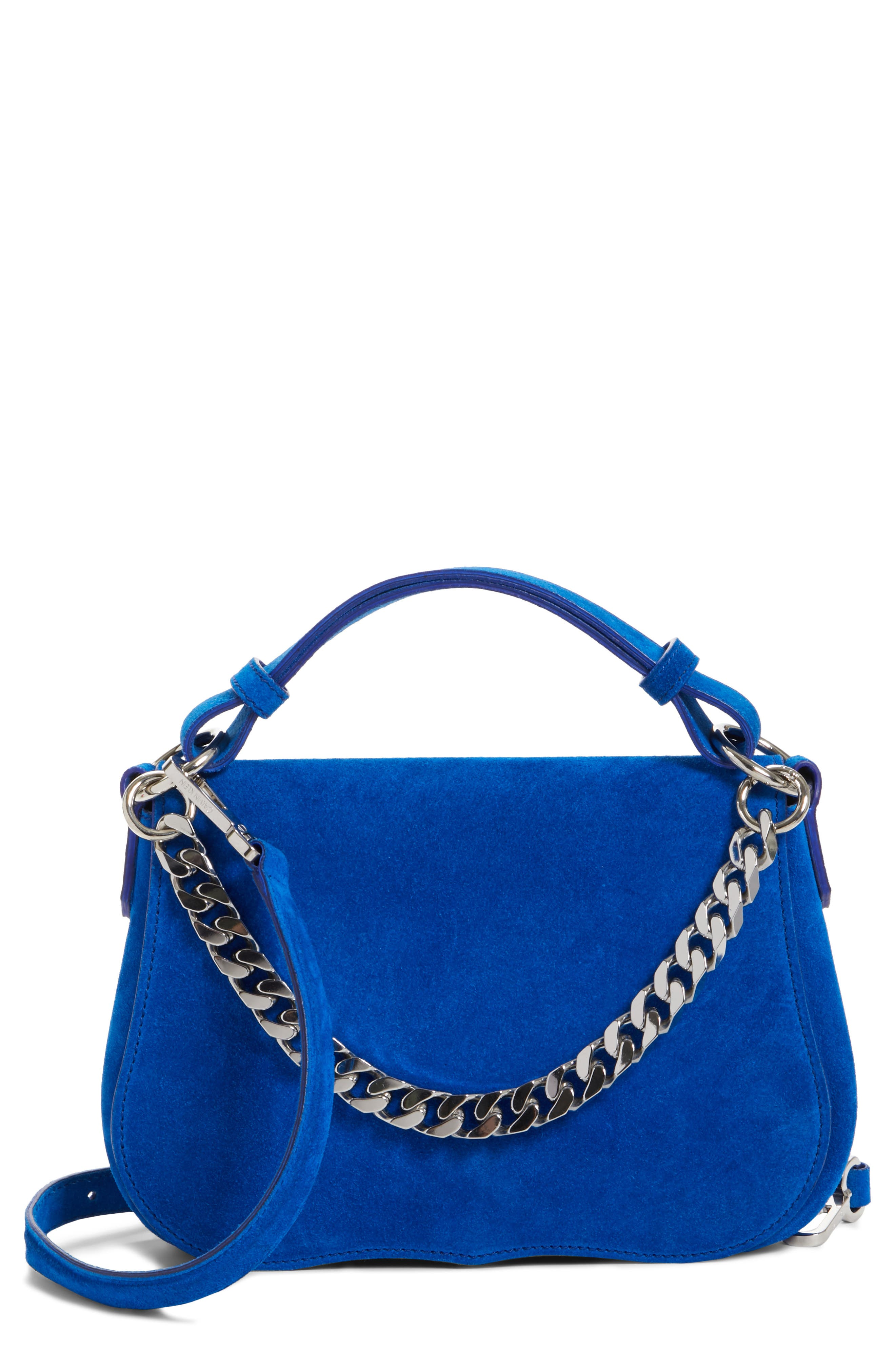 Small Suede Shoulder Bag,                             Main thumbnail 1, color,                             Lapis