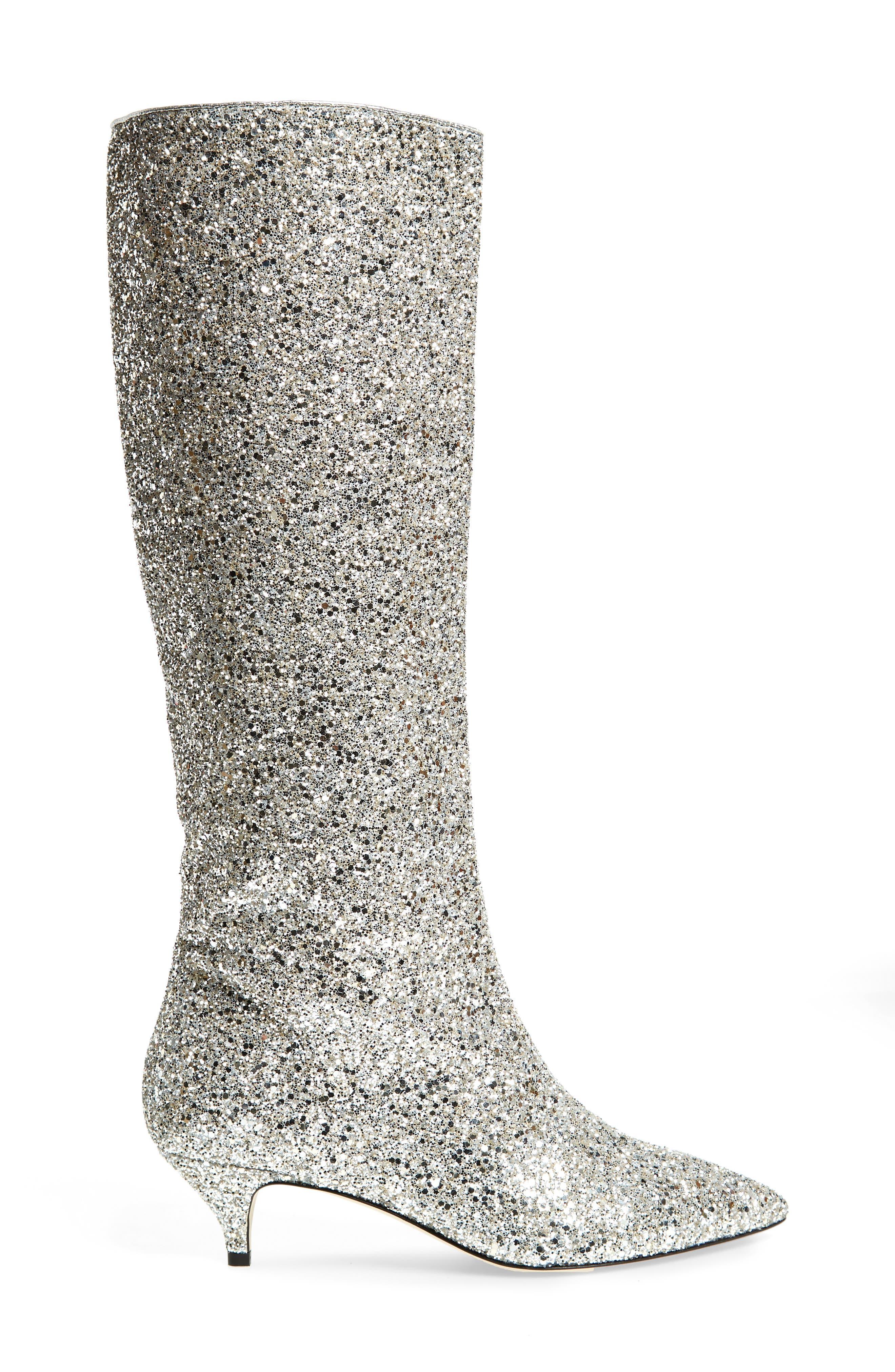 olina glitter knee high boot,                             Alternate thumbnail 3, color,                             Silver/ Gold Glitter