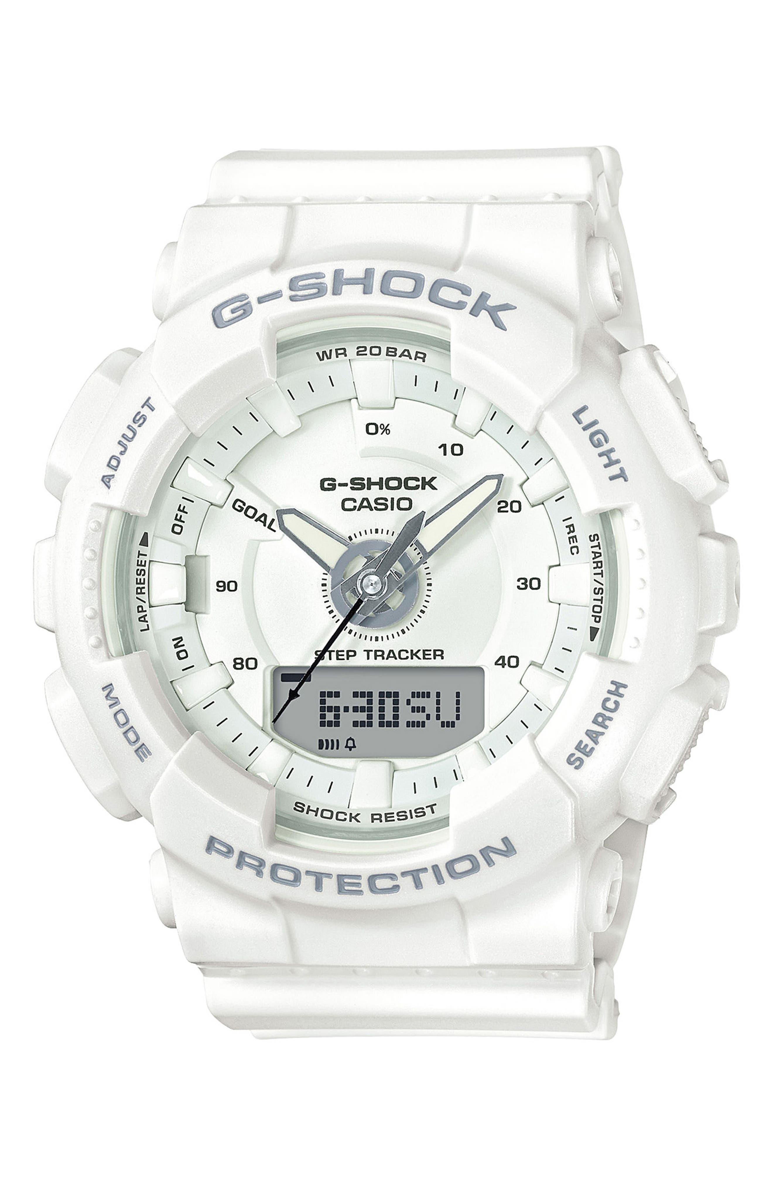S-Series Resin Ana-Digi Watch, 46mm,                             Main thumbnail 1, color,                             White