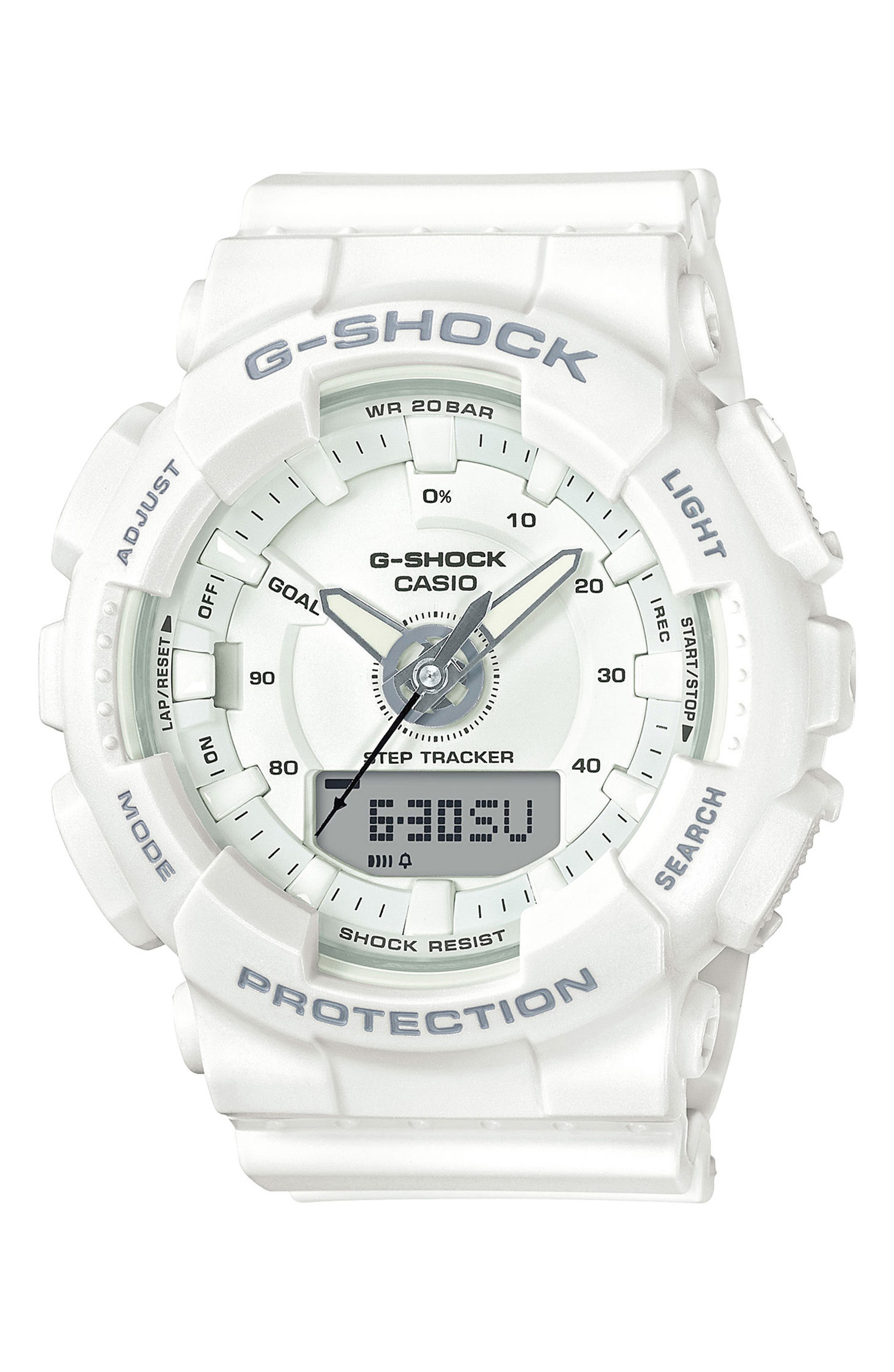 S-Series Resin Ana-Digi Watch, 46mm,                         Main,                         color, White