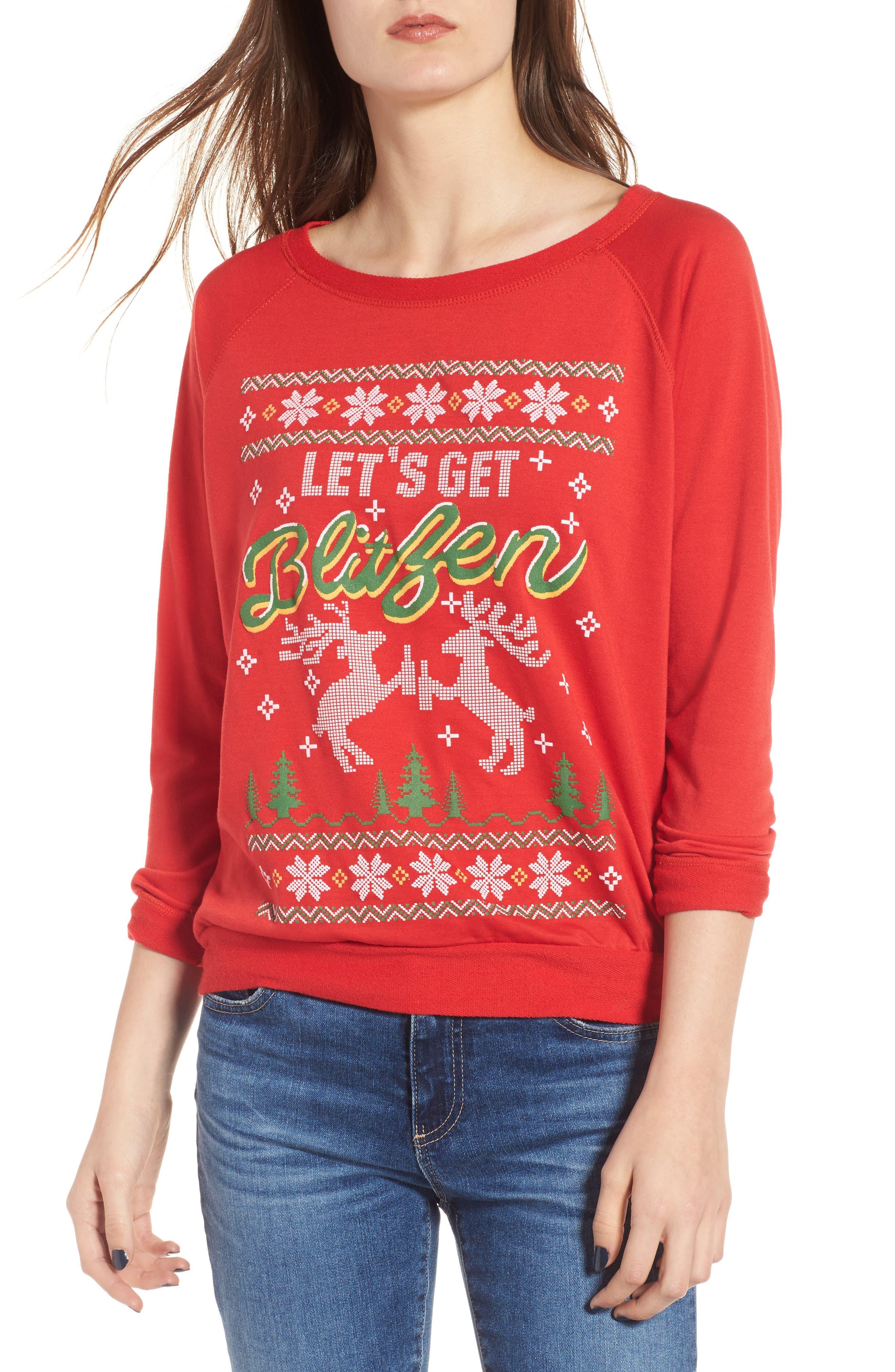 Let's Get Blitzen Sweatshirt,                         Main,                         color, Red