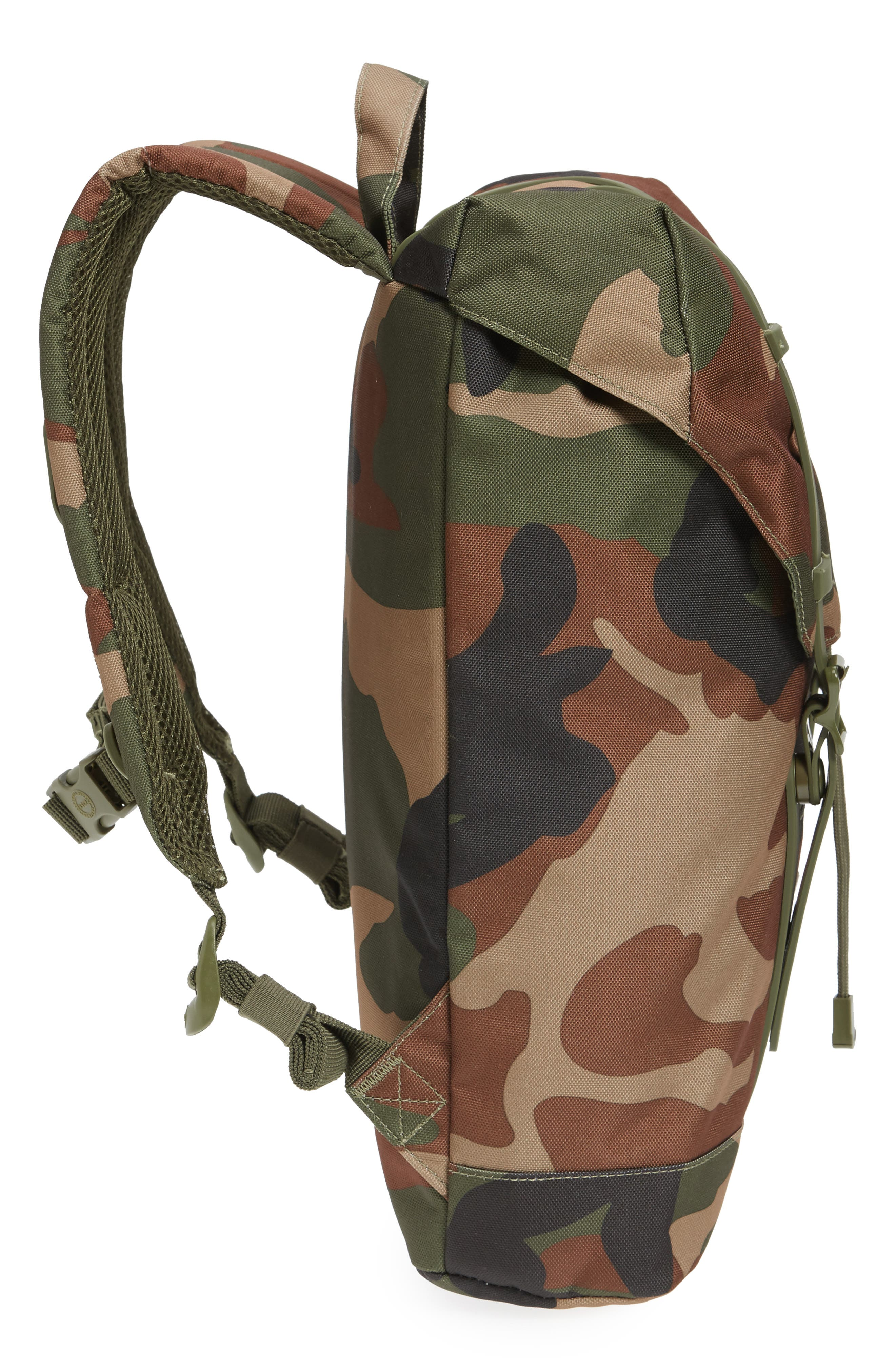 Retreat Camo Backpack,                             Alternate thumbnail 3, color,                             Woodland Camo/ Army Rubber