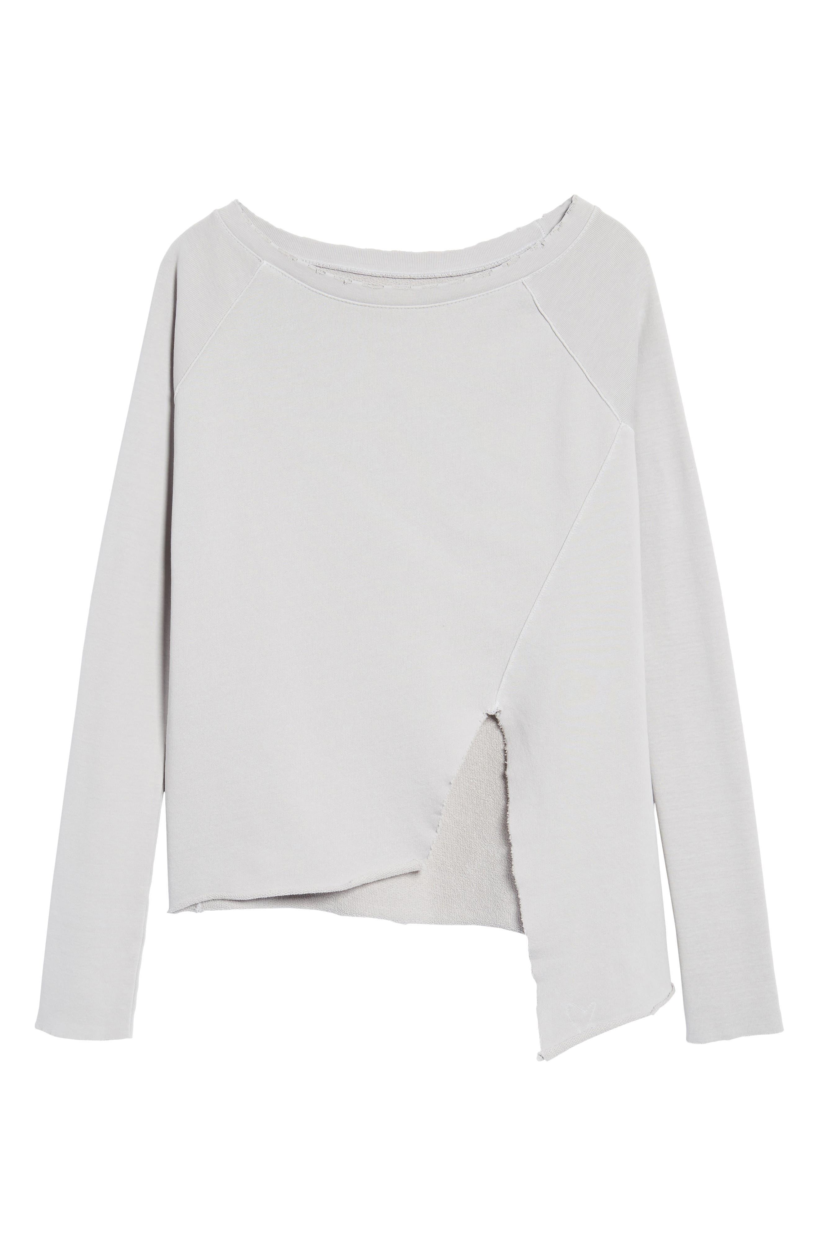 Asymmetric Sweatshirt,                             Alternate thumbnail 6, color,                             Grey Area