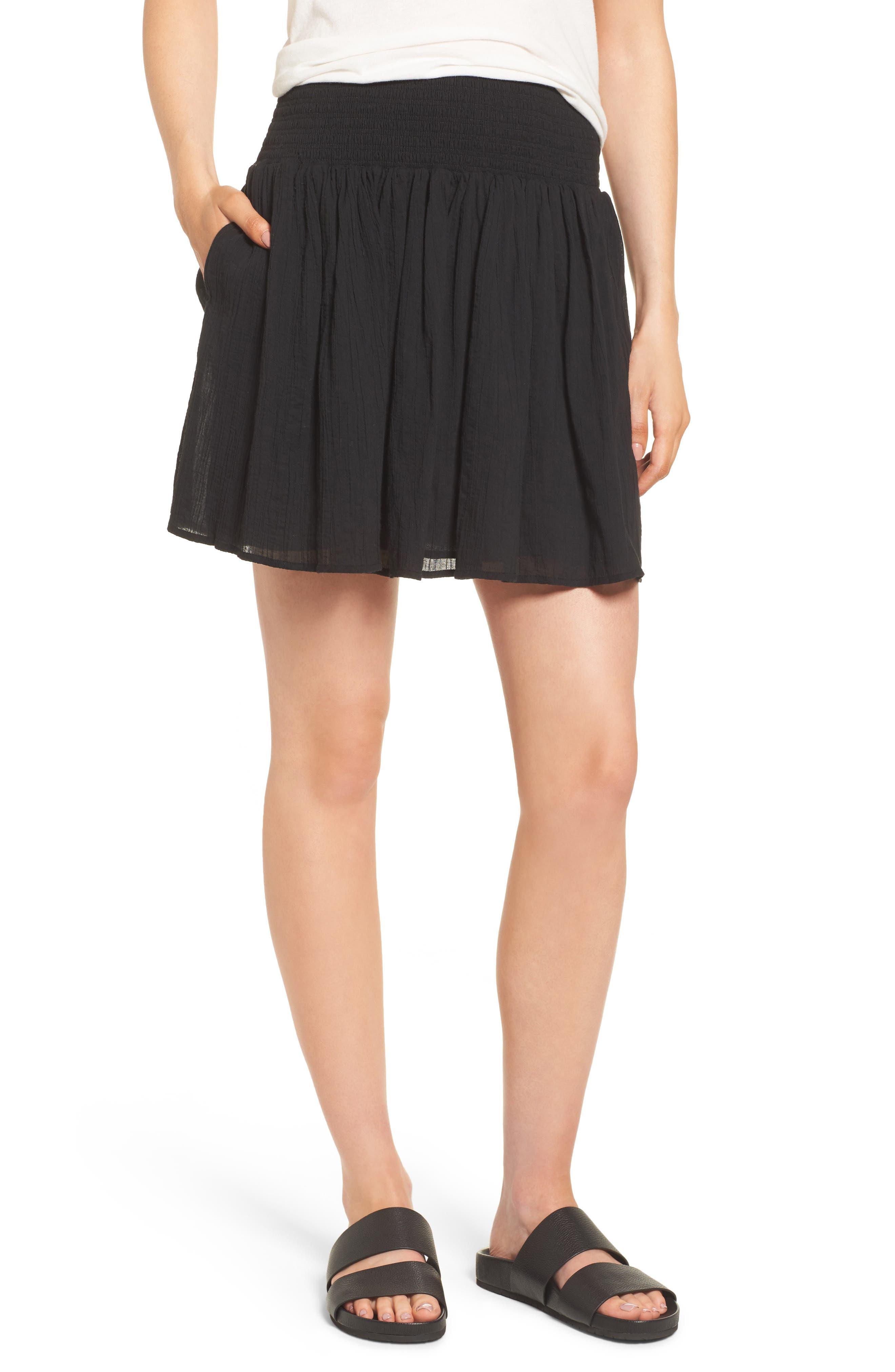 Main Image - James Perse Smocked Cotton Skirt