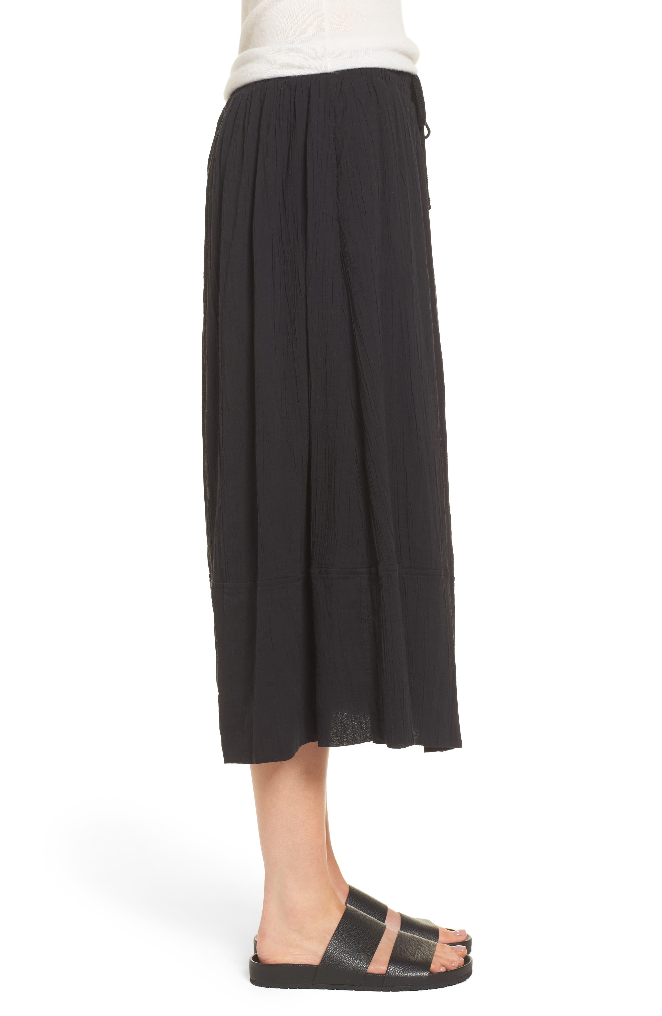 Gauze Midi Skirt,                             Alternate thumbnail 3, color,                             Black