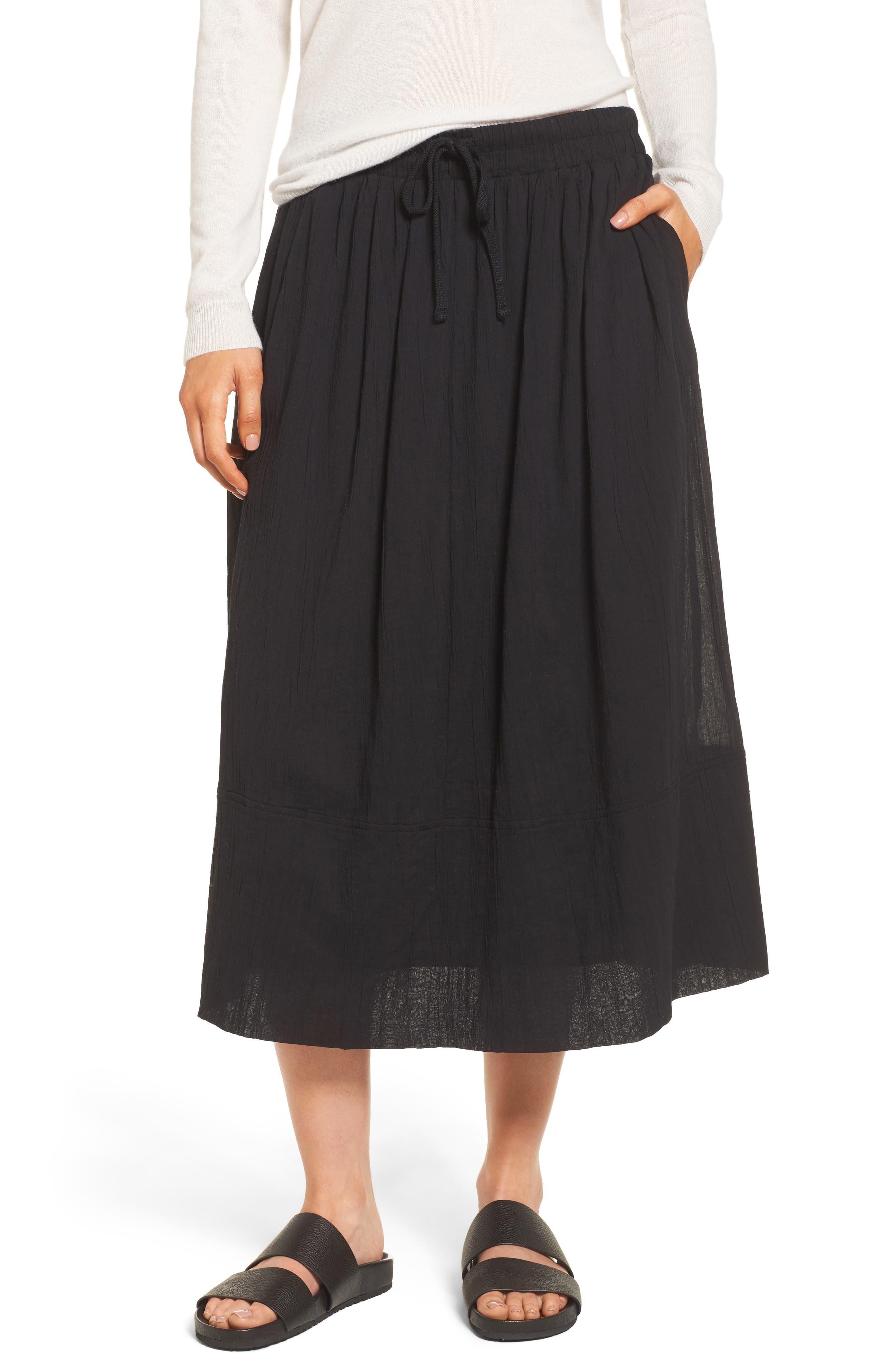 Gauze Midi Skirt,                             Main thumbnail 1, color,                             Black