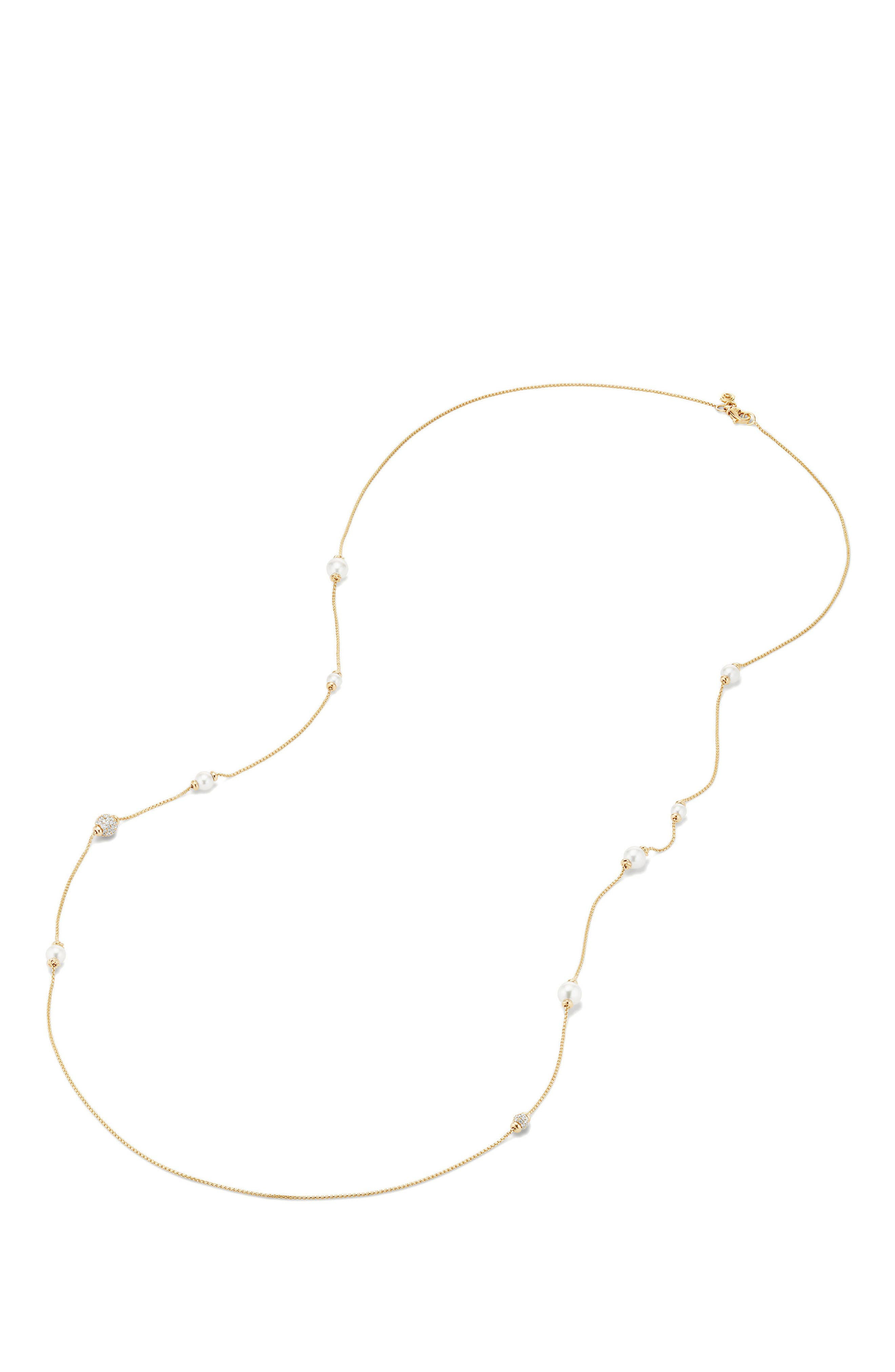 Solari Long Station Necklace with Pearls & Diamonds in 18K Yellow Gold,                             Alternate thumbnail 2, color,                             Yellow Gold/ Diamond/ Pearl
