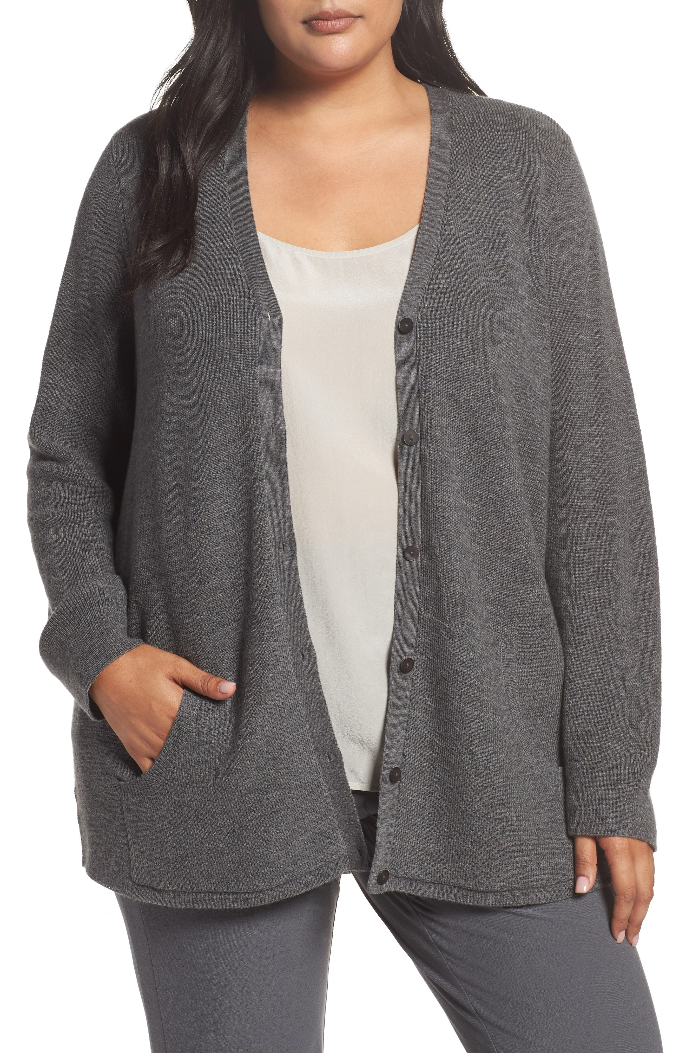 Eileen Fisher V-Neck Merino Wool Cardigan (Plus Size)
