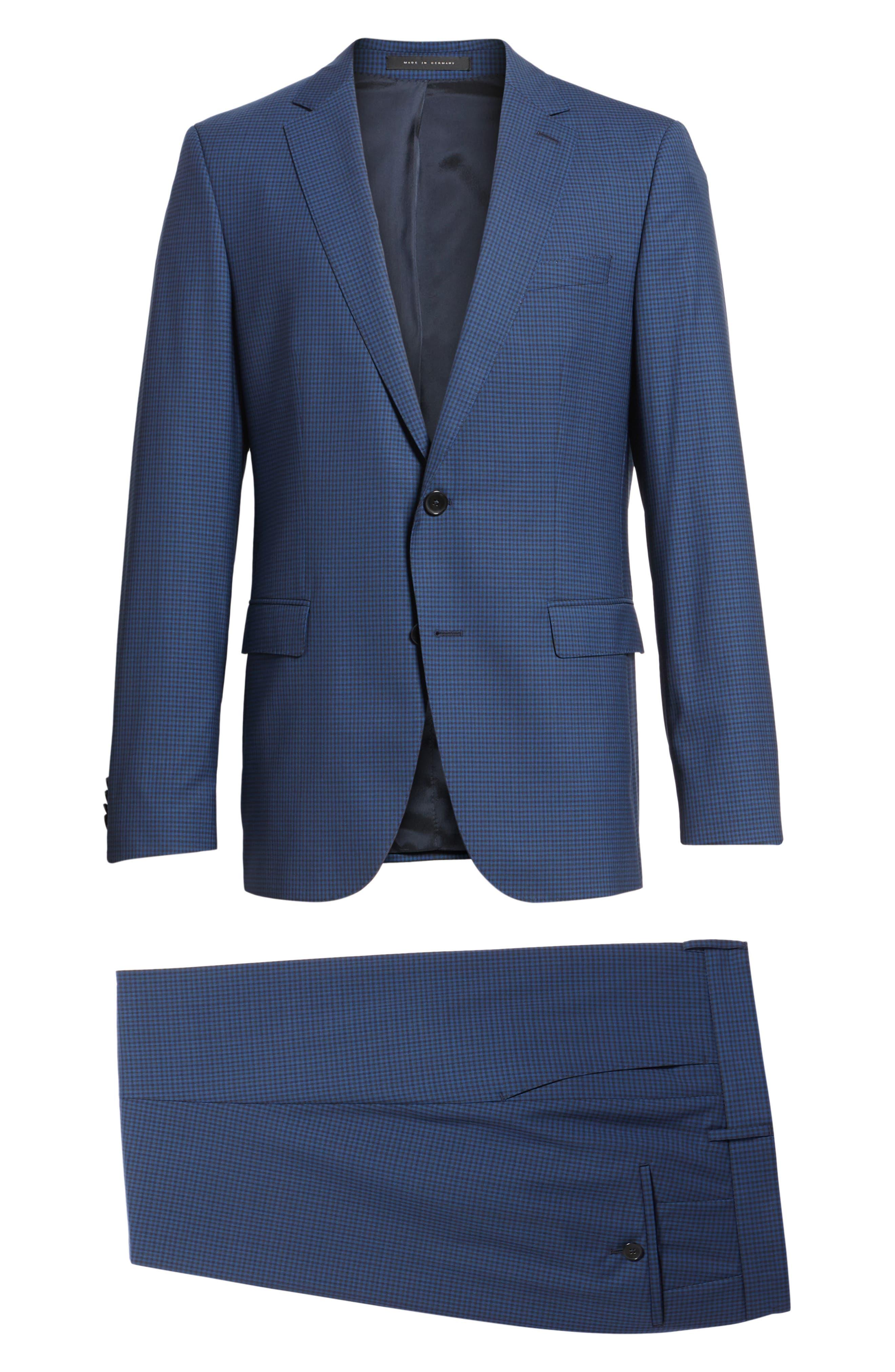 Novan/Ben Trim Fit Check Wool Suit,                             Alternate thumbnail 8, color,                             Dark Blue