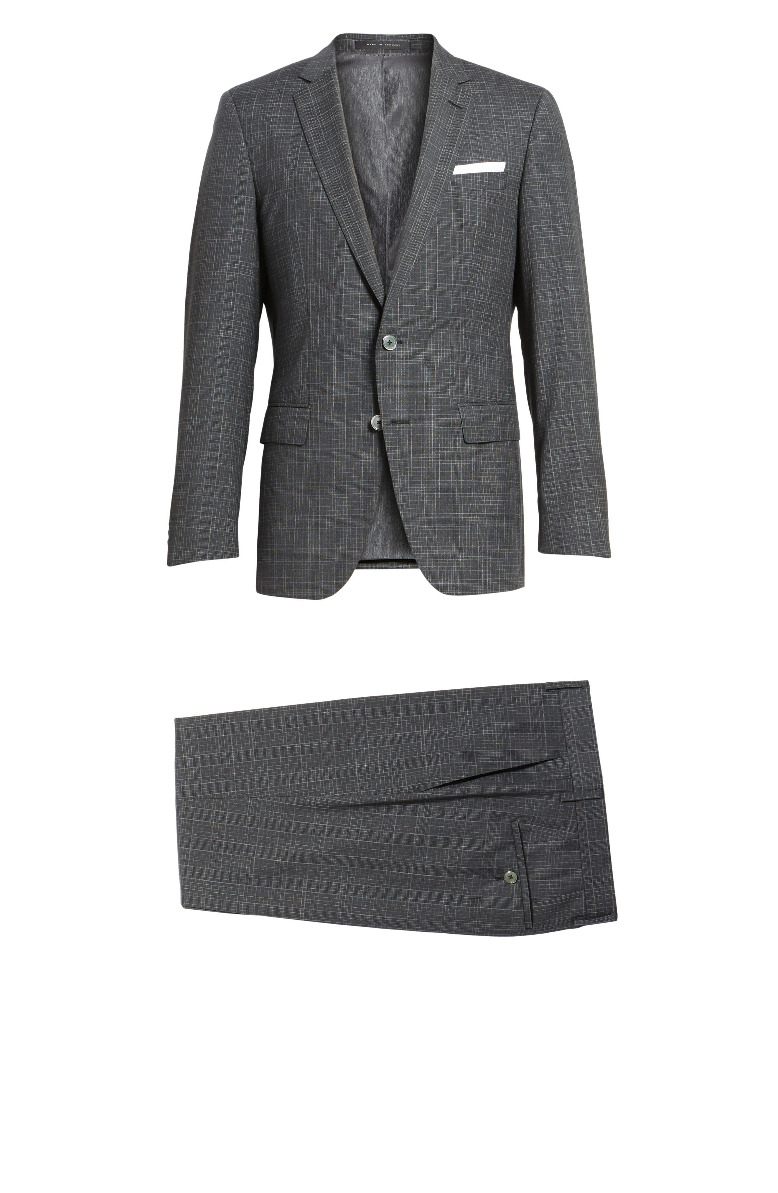 Hutson/Gander Trim Fit Plaid Wool Suit,                             Alternate thumbnail 8, color,                             Open Grey