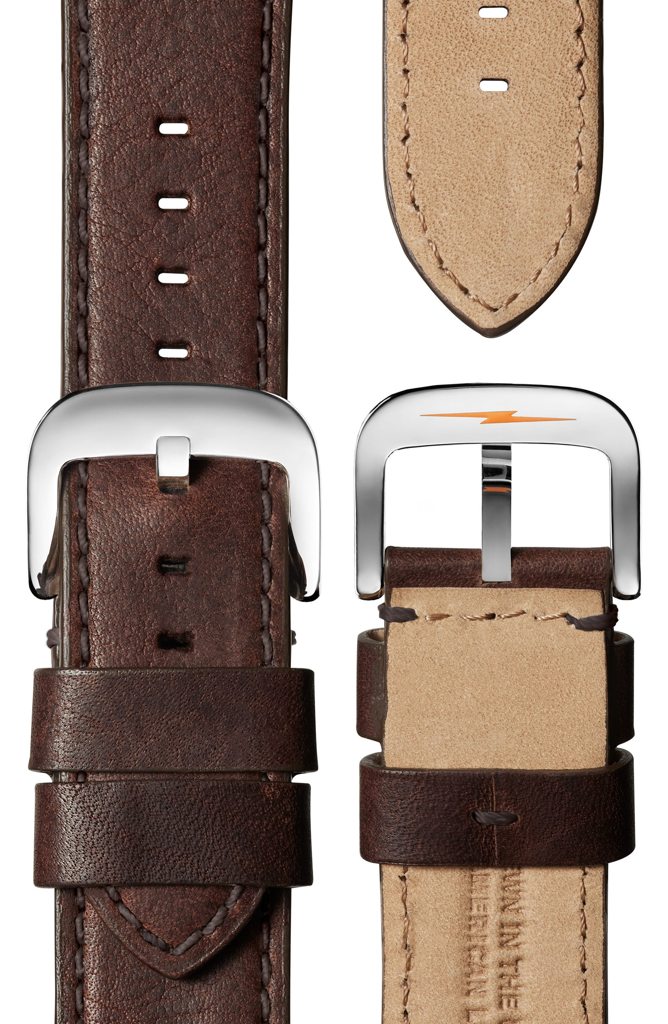 The Runwell Chrono Leather Strap Watch, 47mm,                             Alternate thumbnail 3, color,                             Brown/ Silver