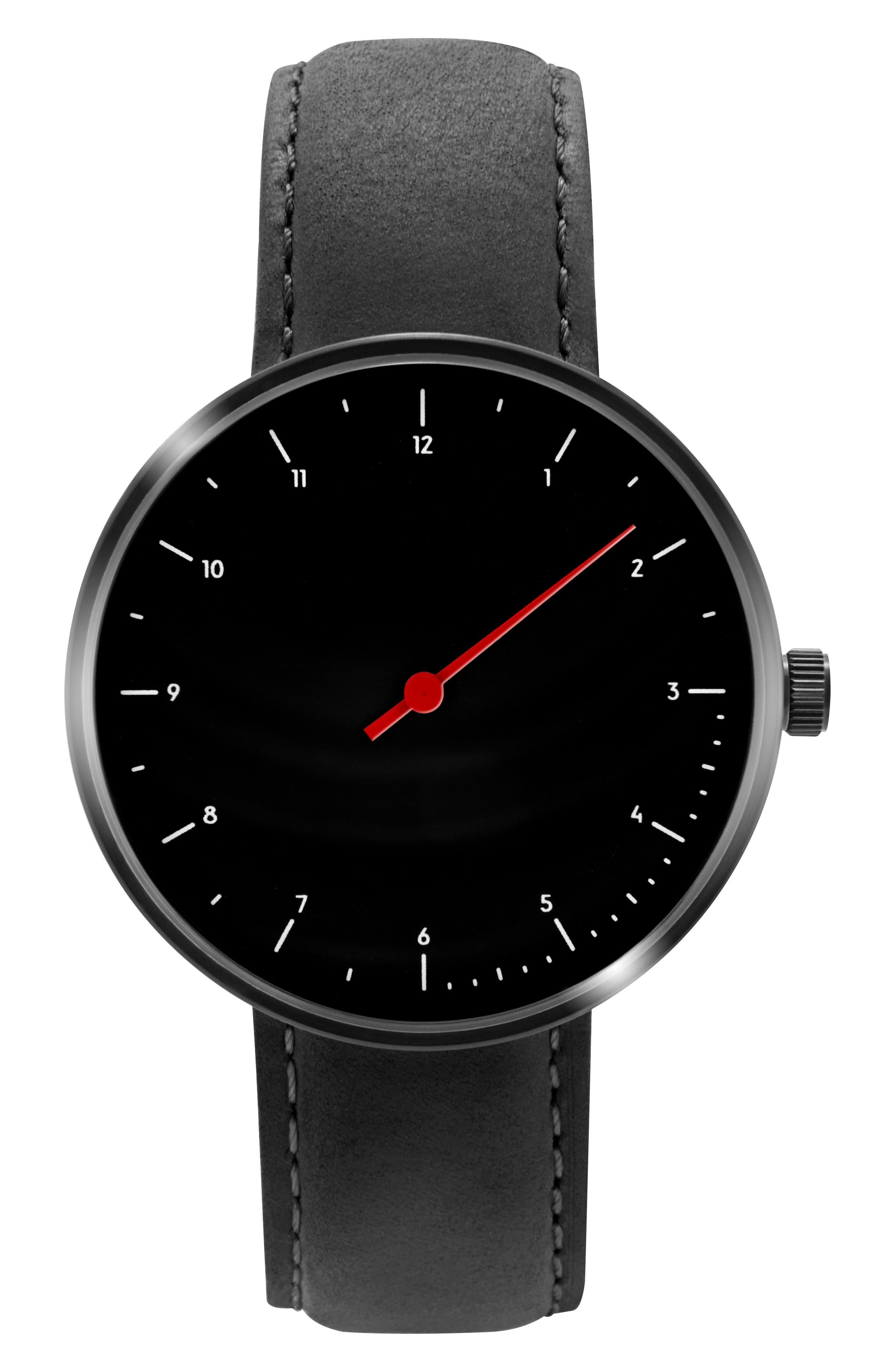Leonard & Church Reddington Suede Strap Watch, 40mm,                         Main,                         color, Black