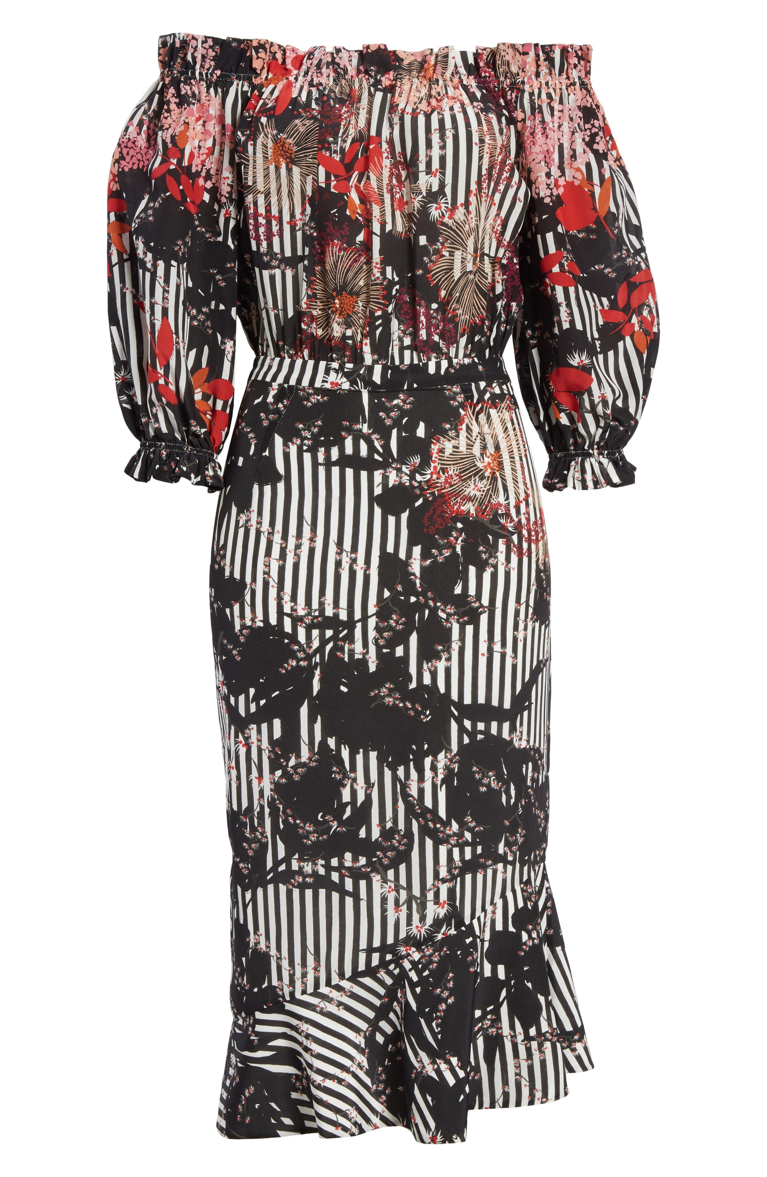 Alternate Image 6  - SALONI Grace Print Silk Off the Shoulder Dress