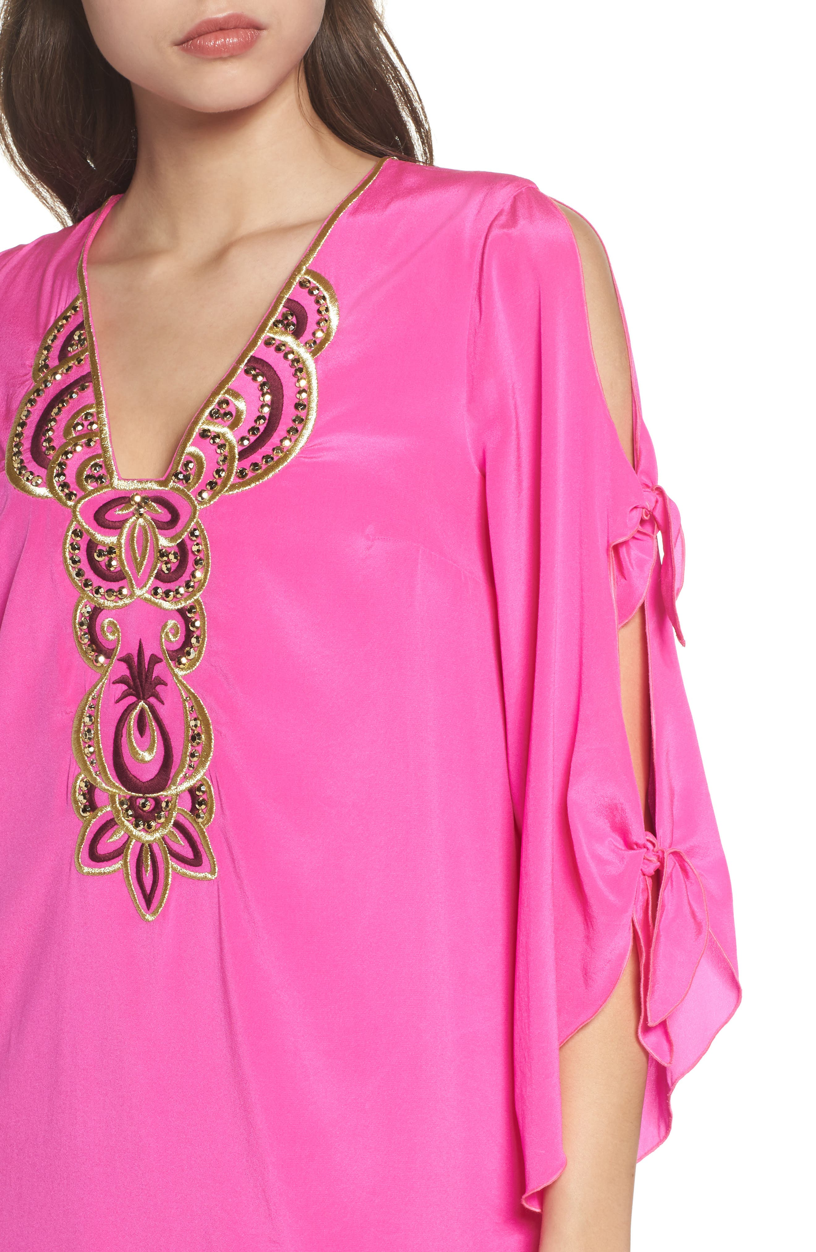 Stretch Silk Tunic Dress,                             Alternate thumbnail 4, color,                             Berry Fizz