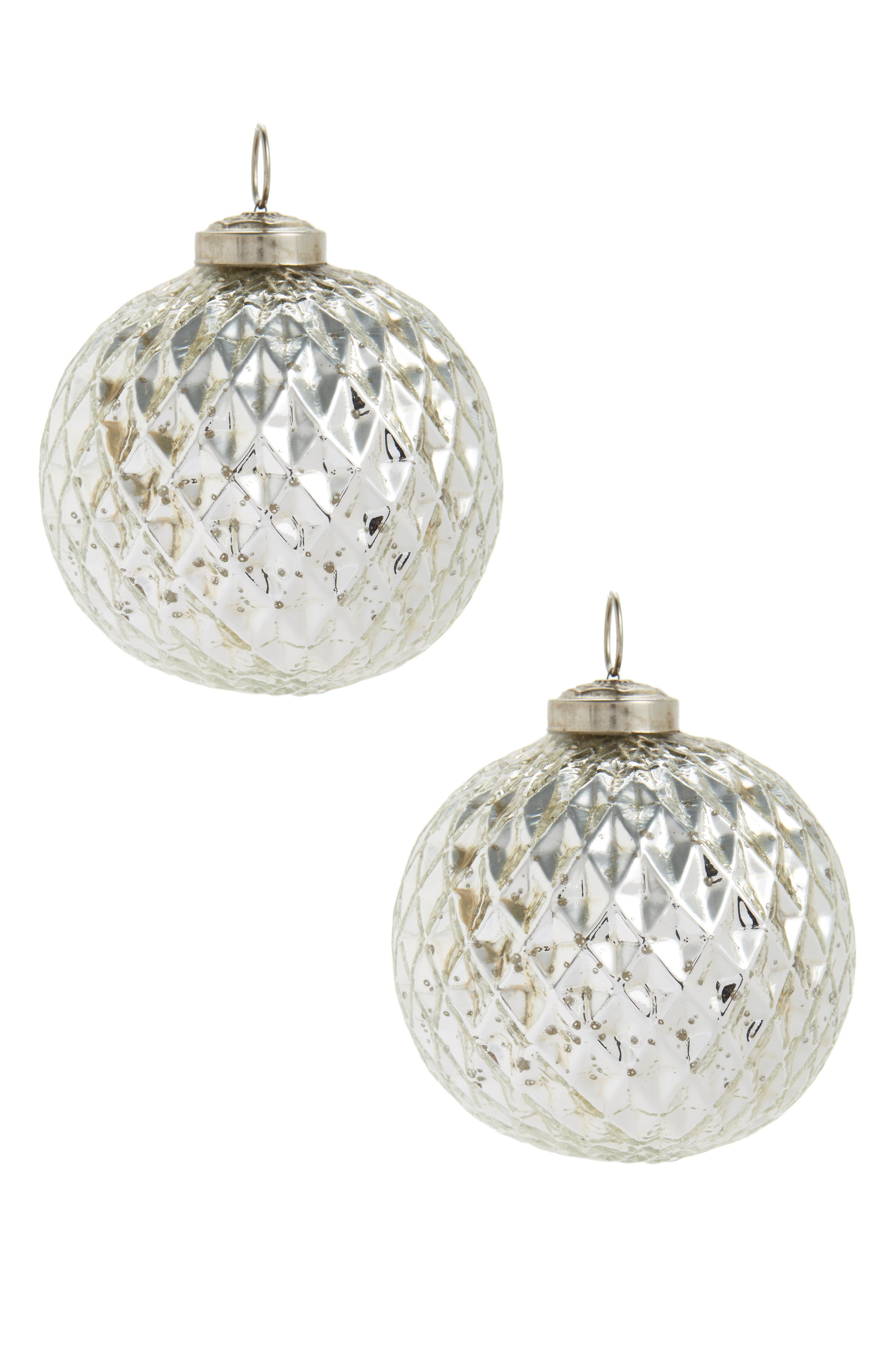 Arty Set of 2 Metallic Ball Ornaments