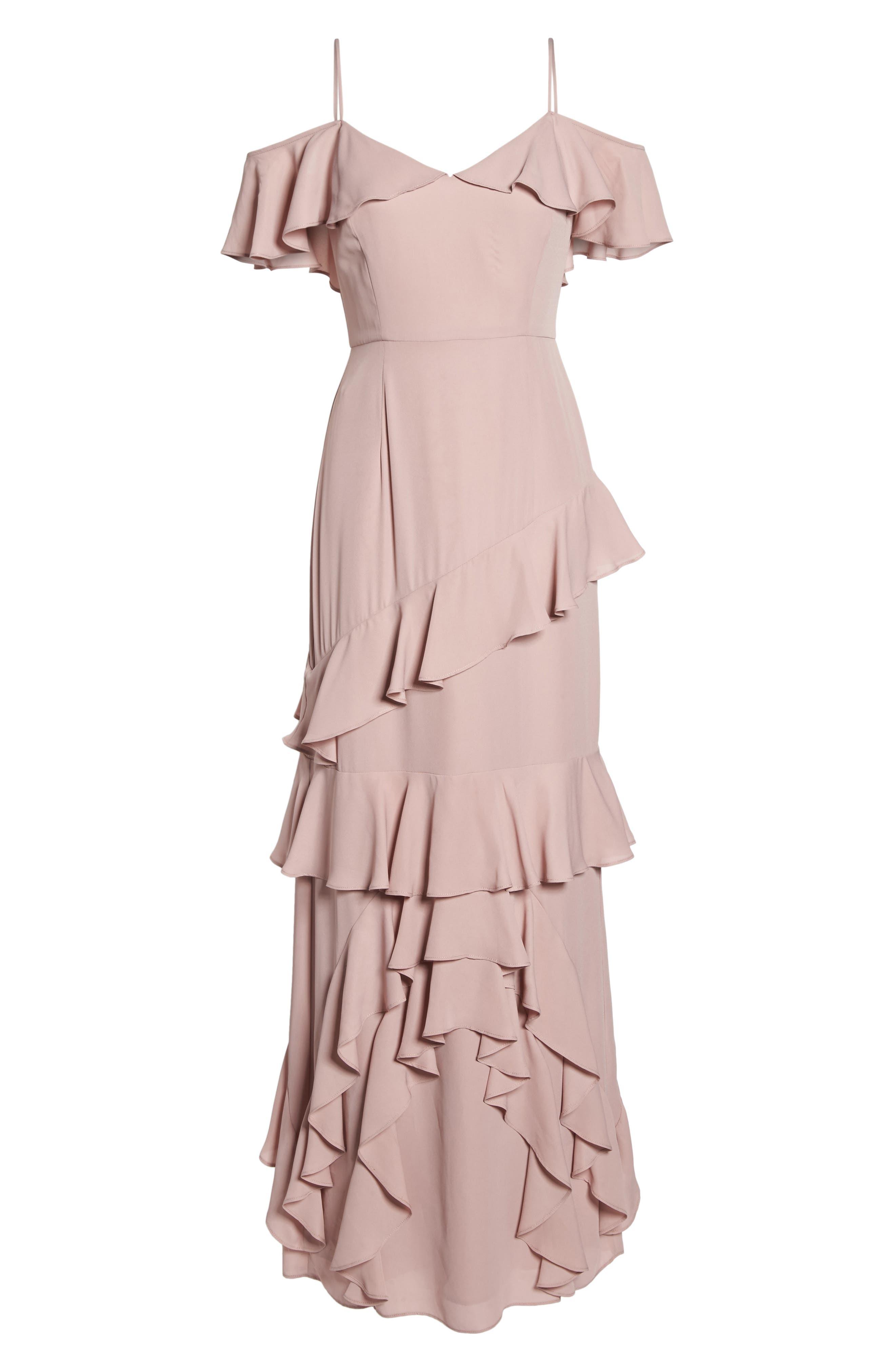 Danielle Off the Shoulder Tiered Crepe Dress,                             Alternate thumbnail 7, color,                             London Fog