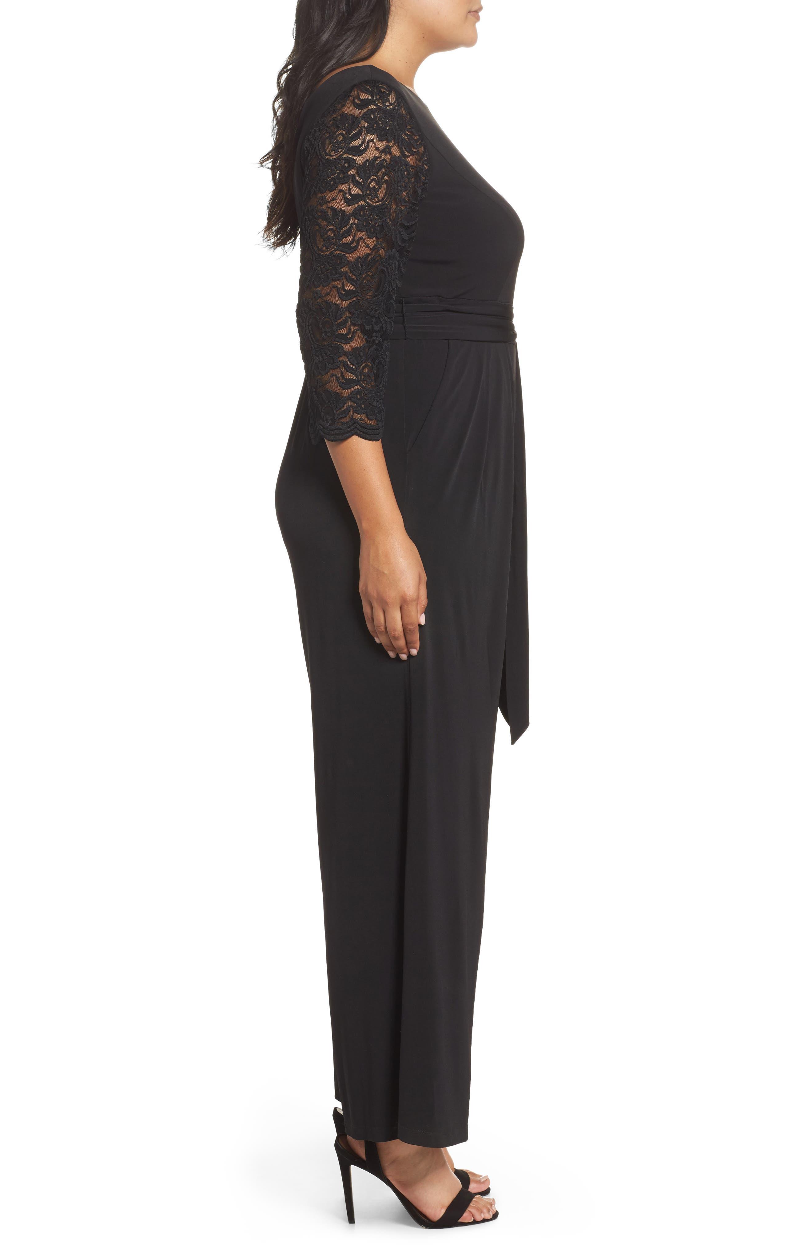 Lace Sleeve Jumpsuit,                             Alternate thumbnail 3, color,                             Black