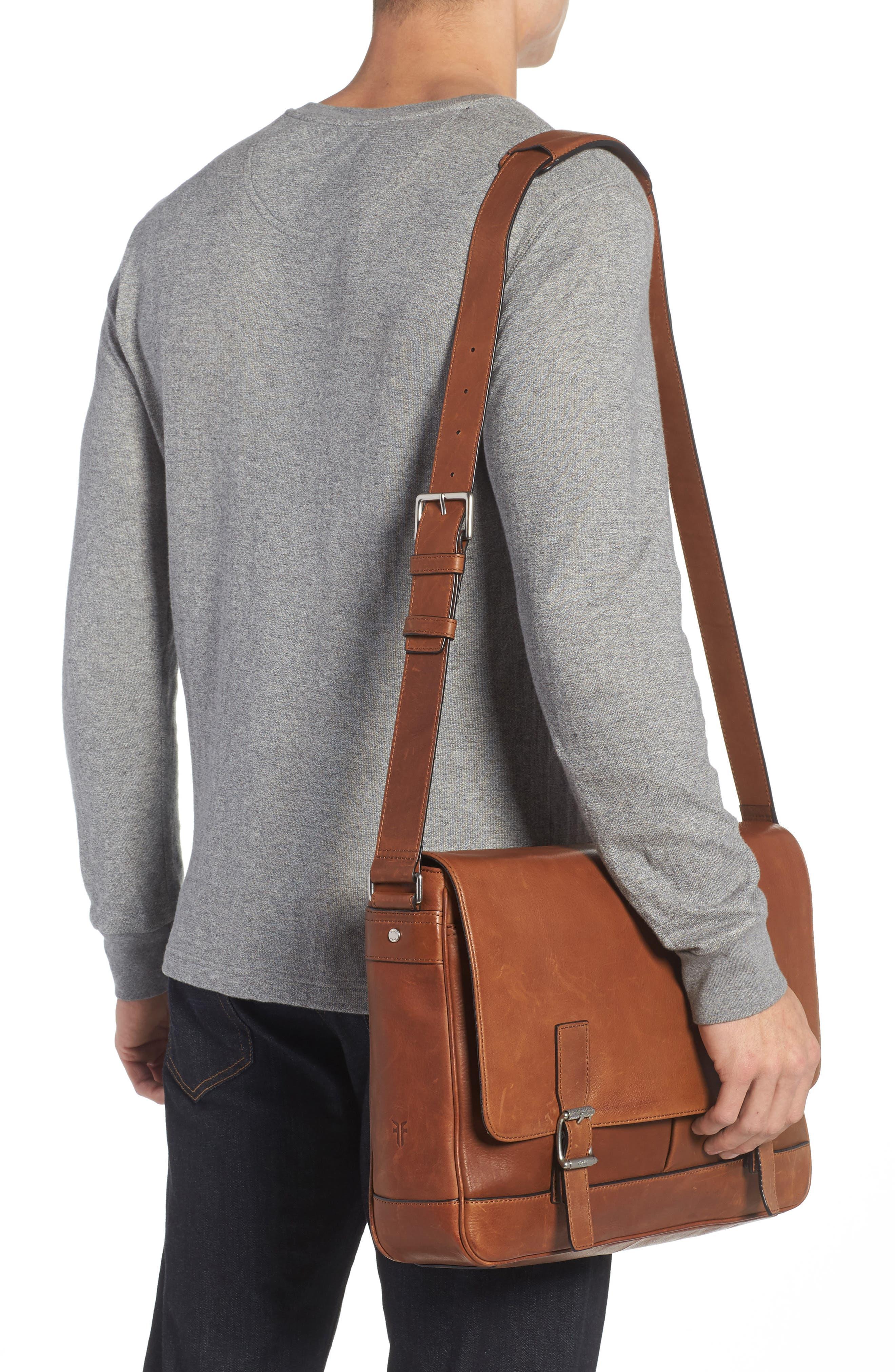 Oliver Leather Messenger Bag,                             Alternate thumbnail 2, color,                             Cognac