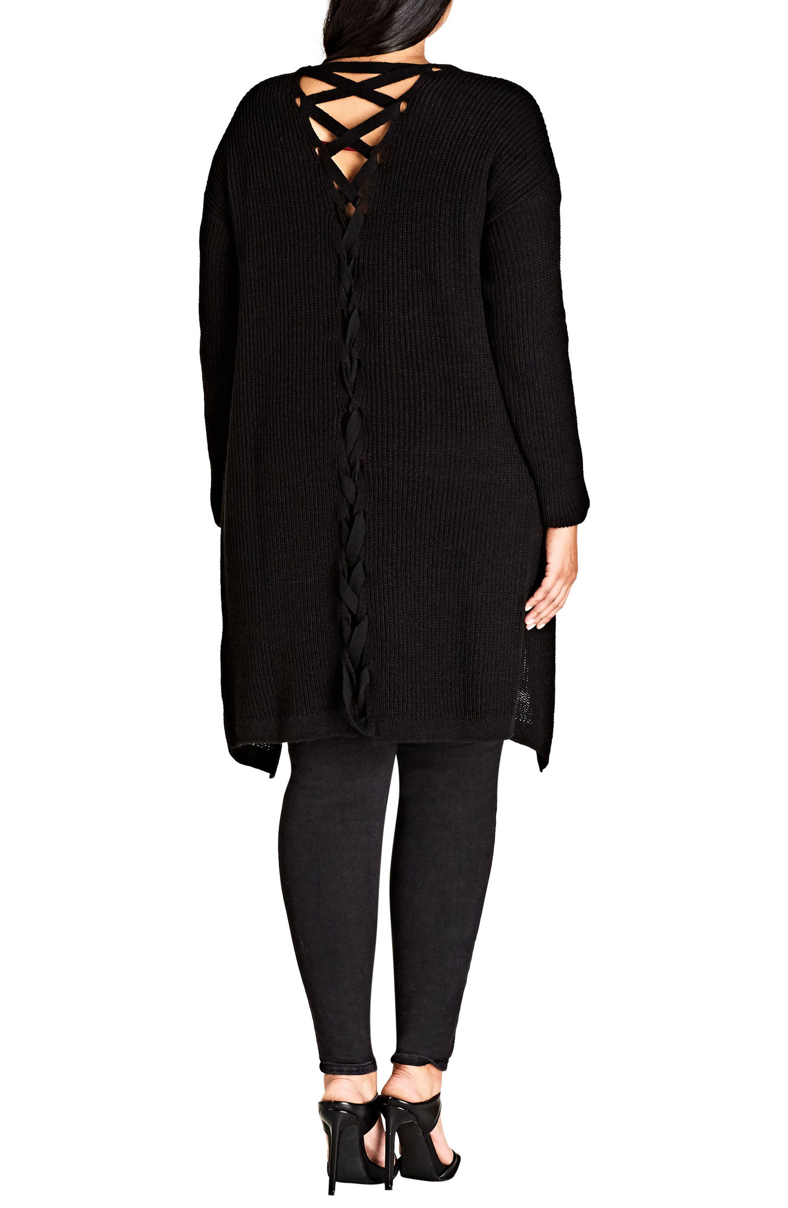 Alternate Image 2  - City Chic Braid Back Cardigan (Plus Size)