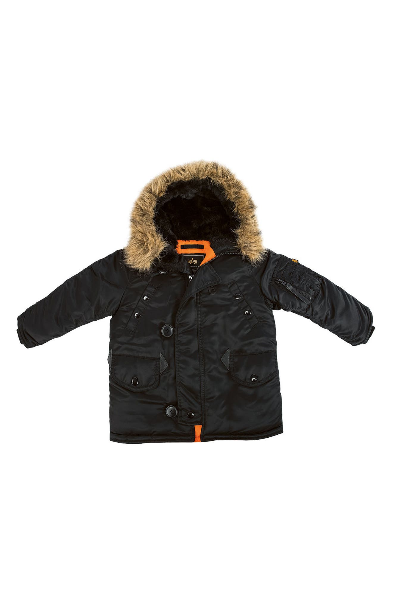 Main Image - Alpha Industries N-3B Water Resistant Faux Fur Parka (Little Boys & Big Boys)
