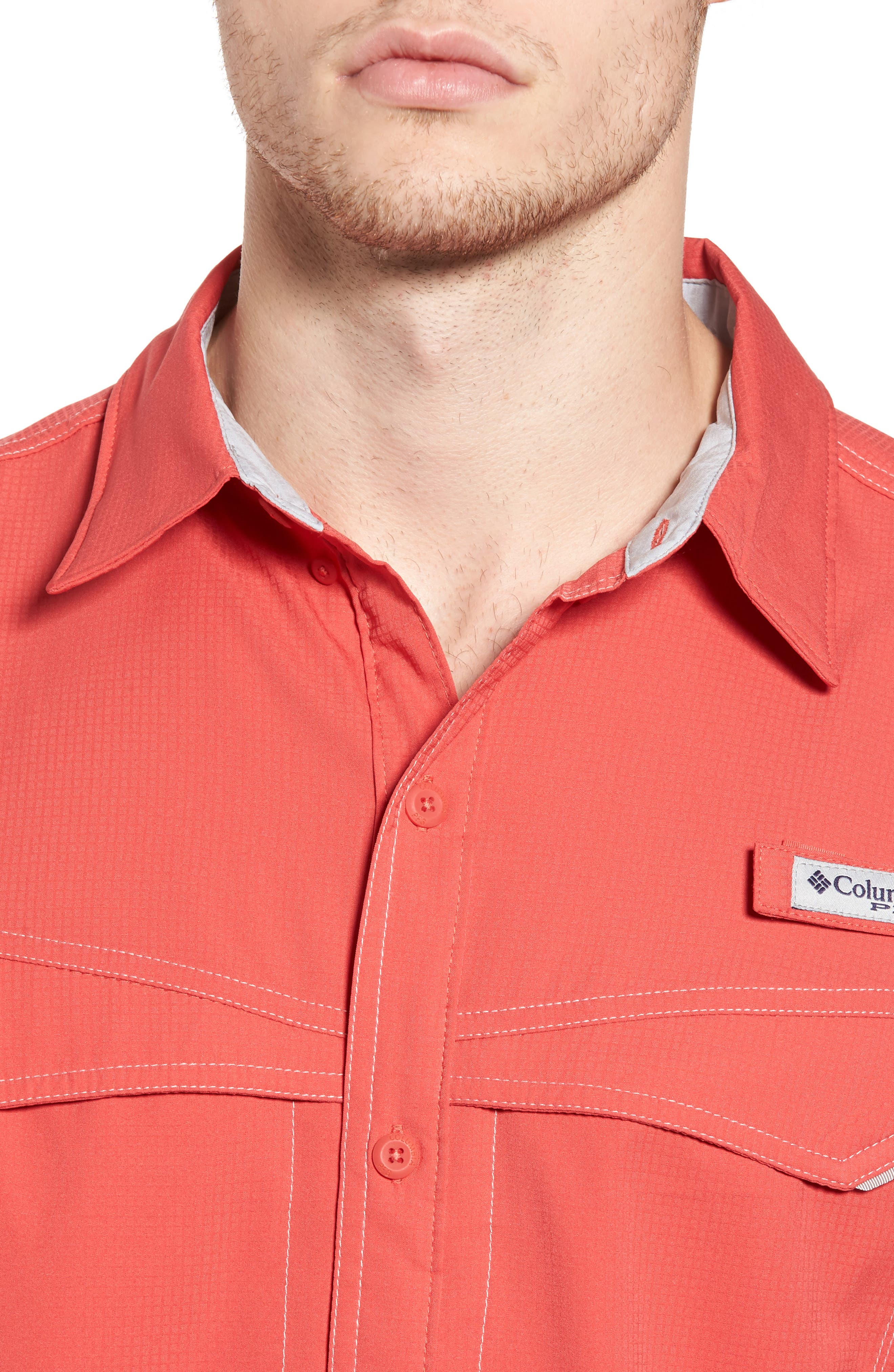 PFG Low Drag Offshore Woven Shirt,                             Alternate thumbnail 4, color,                             Sunset Red