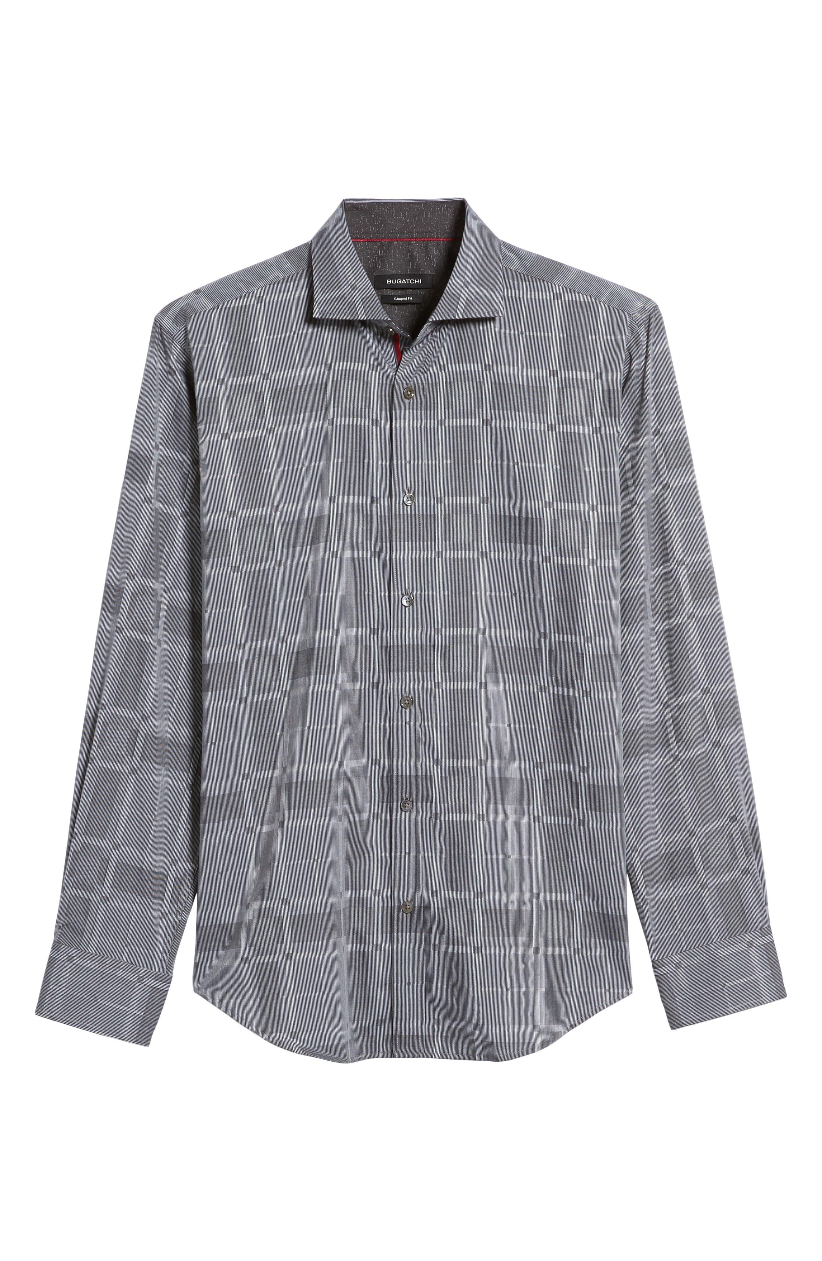 Slim Fit Microstripe Plaid Sport Shirt,                             Alternate thumbnail 6, color,                             Graphite
