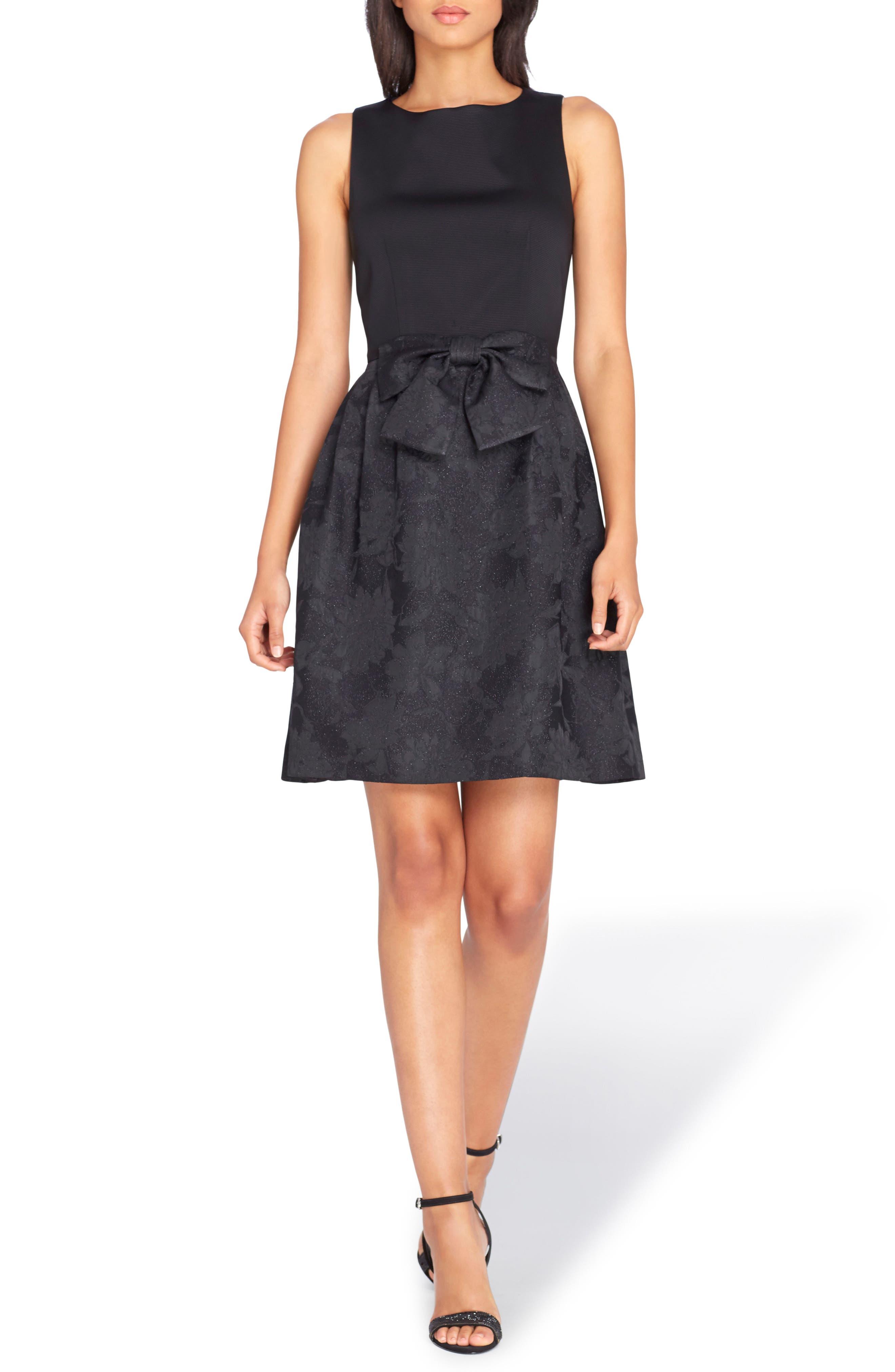 Bow Fit & Flare Dress,                             Main thumbnail 1, color,                             Black