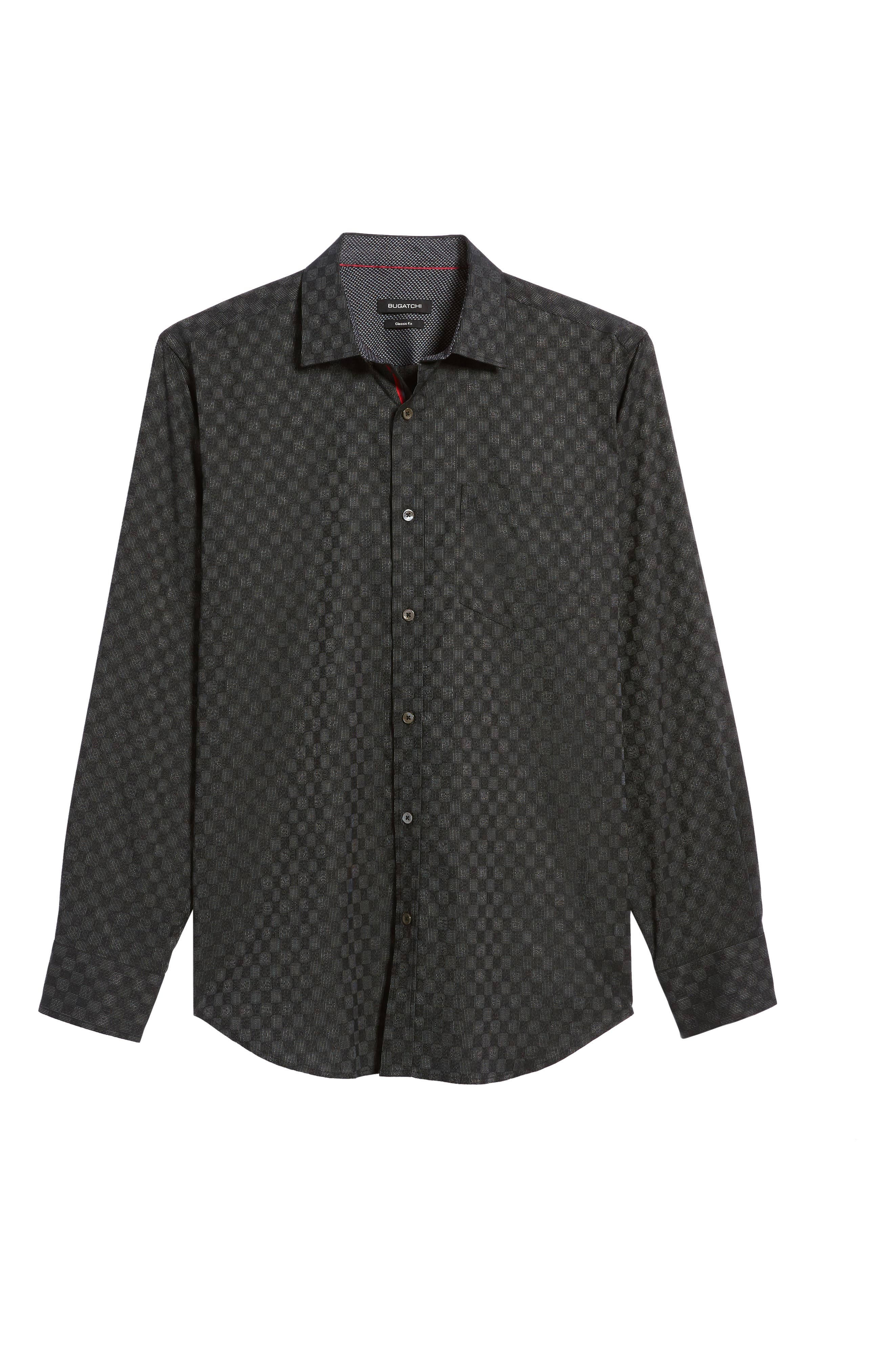 Classic Fit Abstract Dot Print Sport Shirt,                             Alternate thumbnail 6, color,                             Black