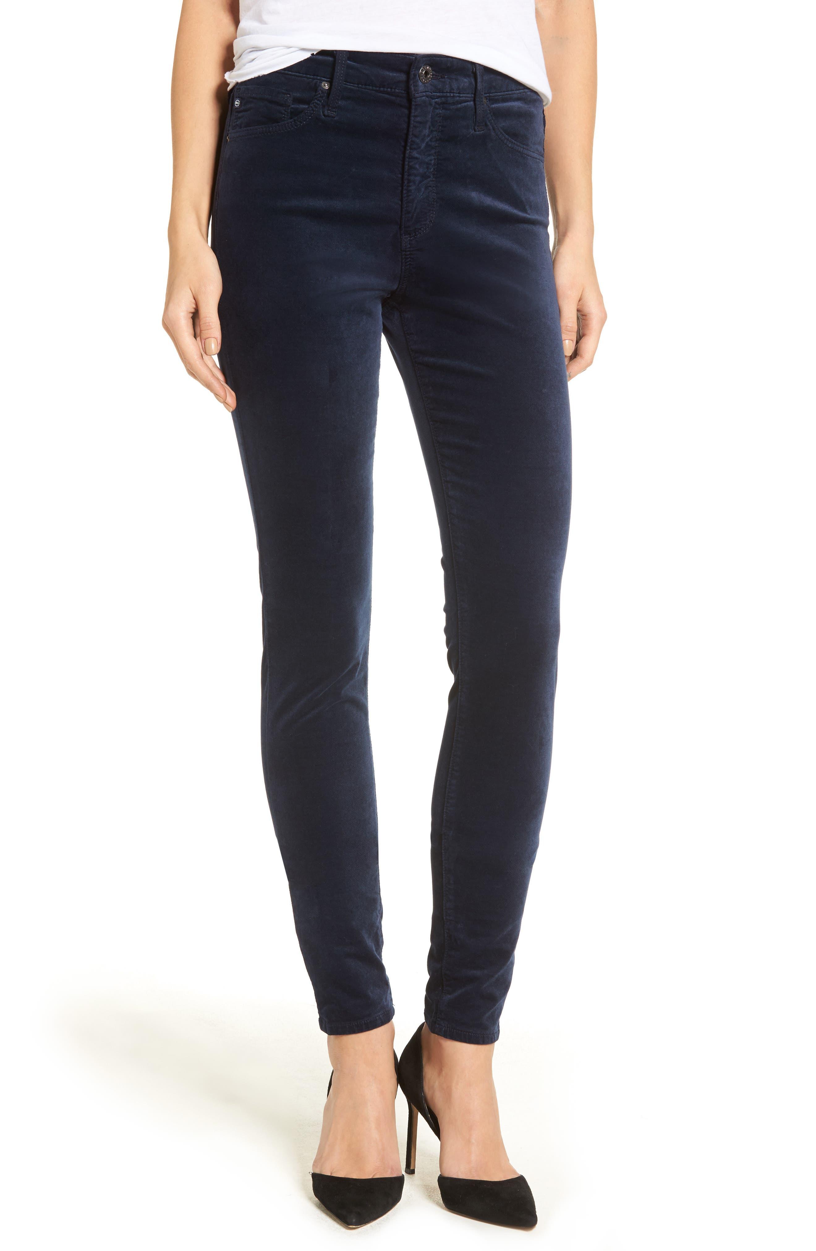 Alternate Image 1 Selected - AG The Farrah High Waist Velvet Jeans