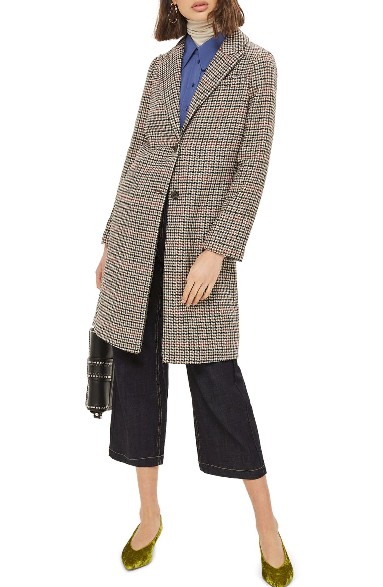Topshop Bonded Check Coat
