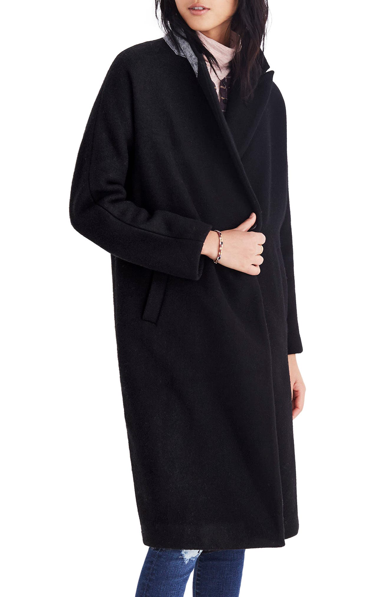 Atlas Cocoon Coat,                             Main thumbnail 1, color,                             True Black