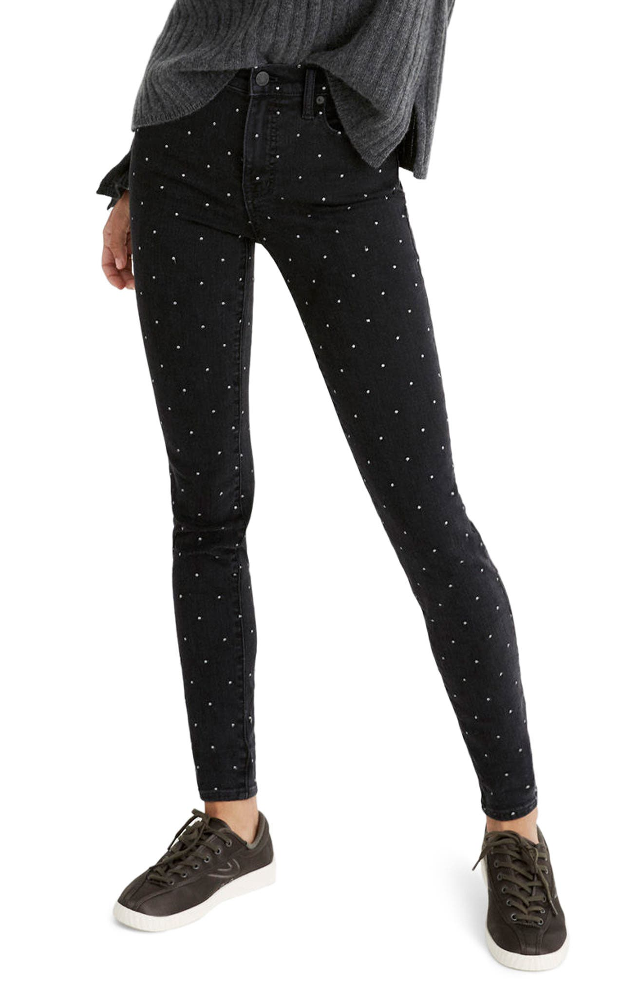 9-Inch Metallic Dot Skinny Jeans,                         Main,                         color, Glendale Wash
