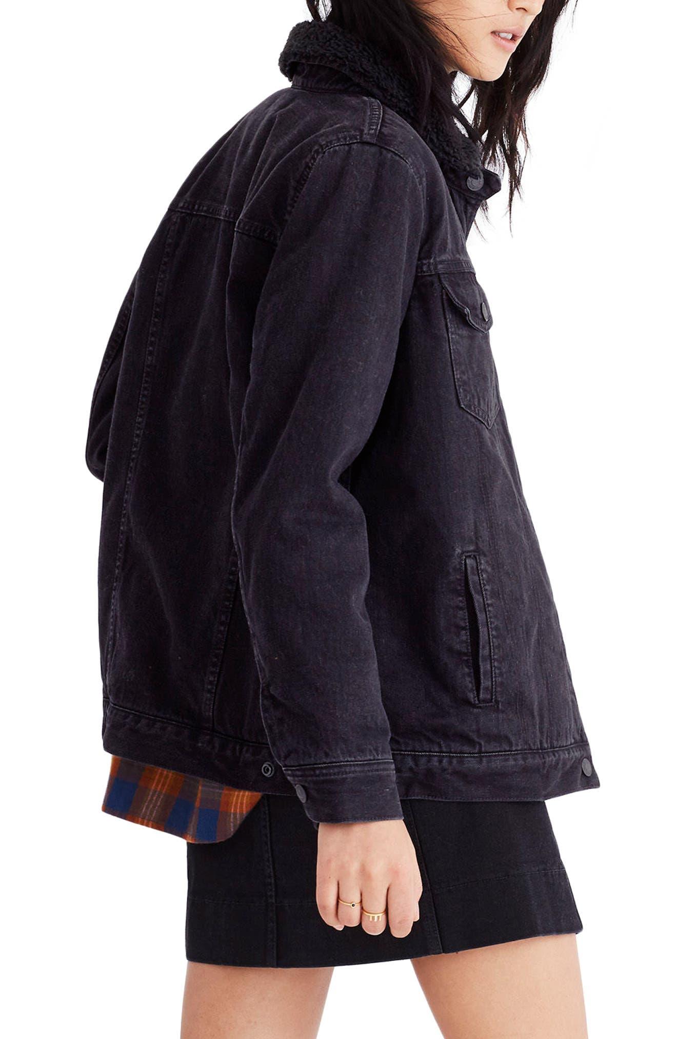 Oversize Denim Jacket with Fleece Collar,                             Alternate thumbnail 3, color,                             Gallagher Wash