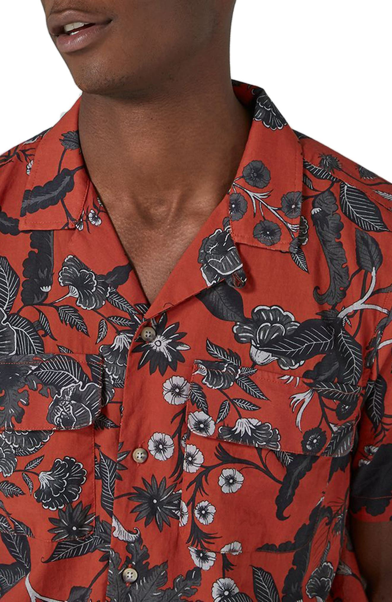 Red Floral Revere Collar Shirt,                             Alternate thumbnail 3, color,                             Red Multi